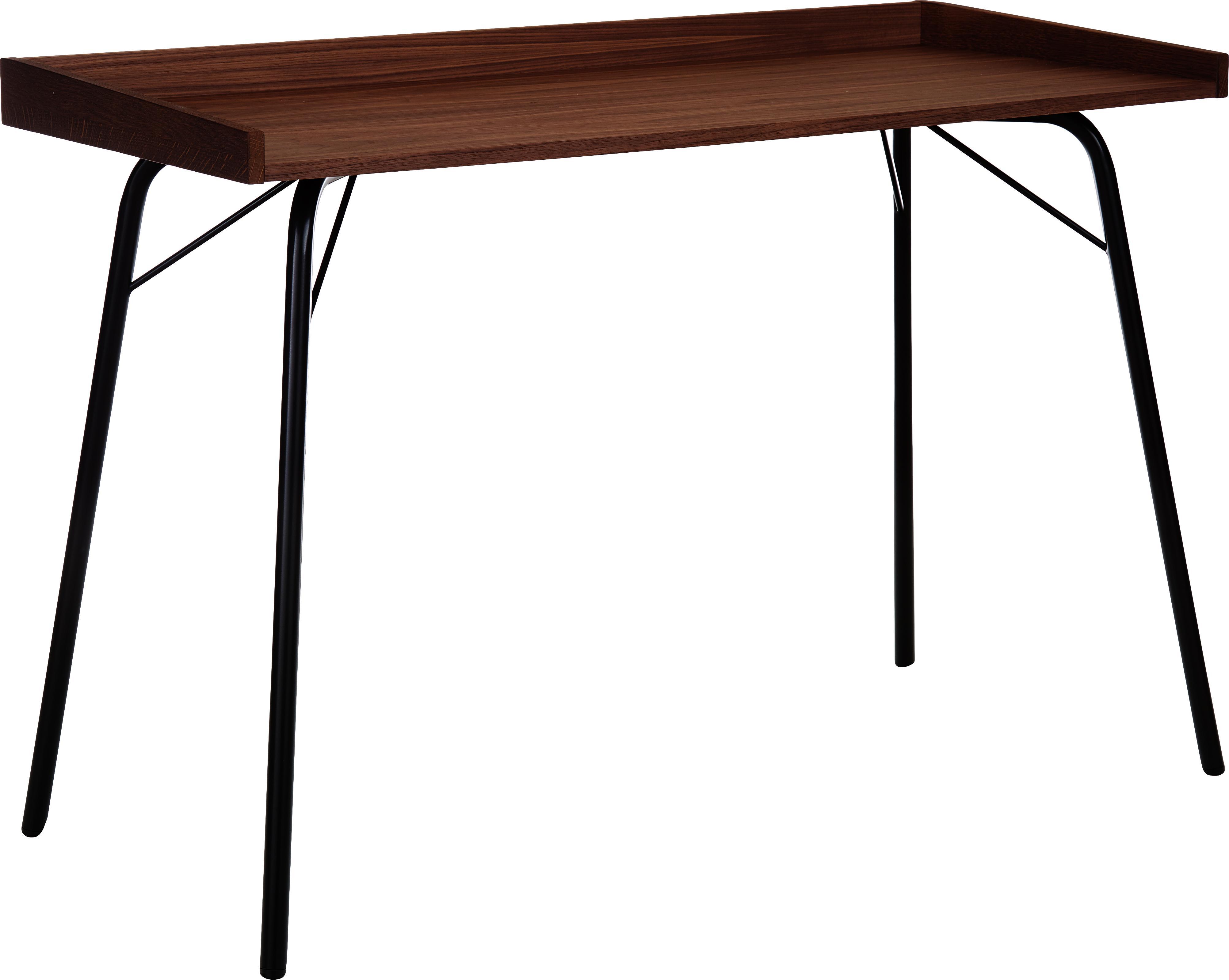 Bureau Rayburn met walnoothoutfineer, Tafelblad: MDF, walnoothoutfineer, Frame: gepoedercoat metaal, Walnoothoutkleurig, zwart, 115 x 78 cm