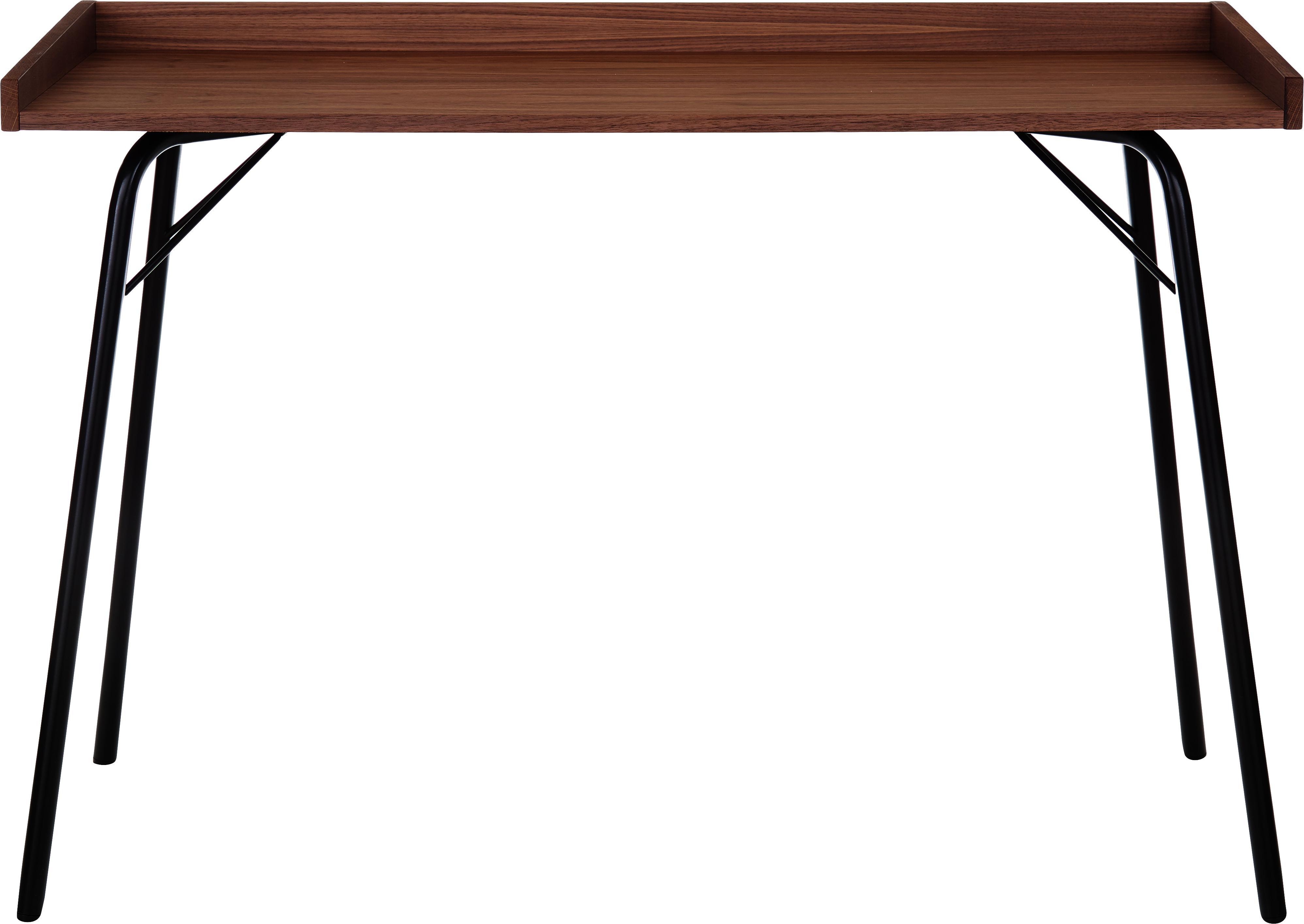 Scrivania con piano in noce Rayburn, Piano d'appoggio: pannello di fibra a media, Struttura: metallo verniciato a polv, Albero di noce, nero, Larg. 115 x Prof. 52 cm