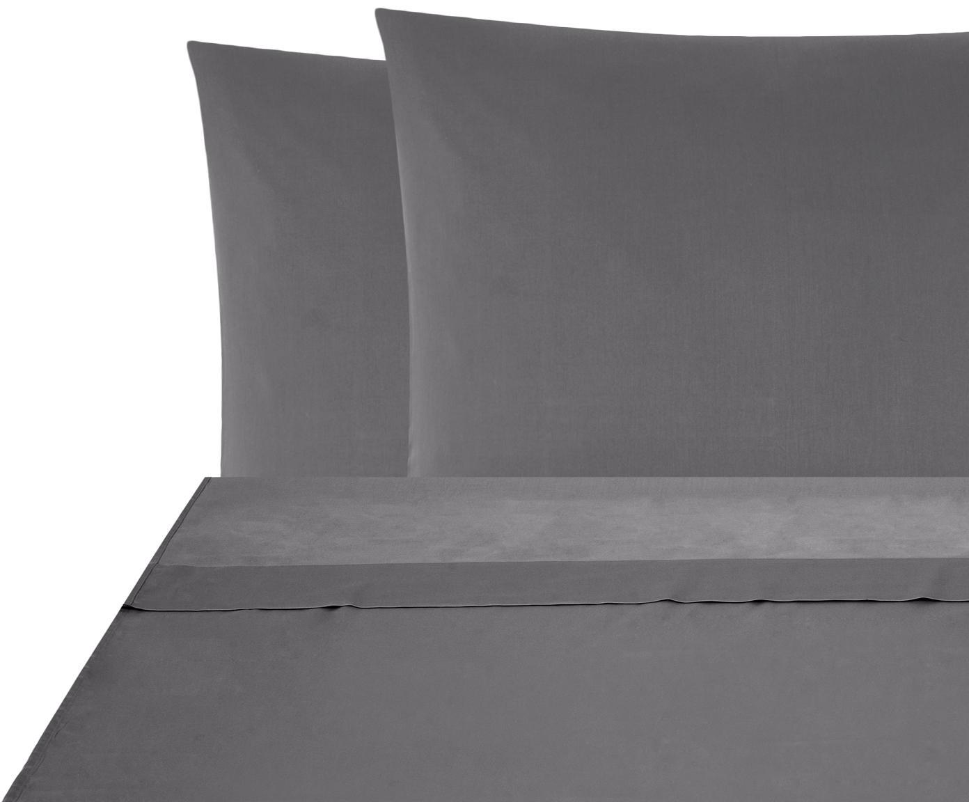 Set lenzuola in raso di cotone Comfort 2 pz, Tessuto: raso Densità del filo 250, Grigio scuro, 240 x 300 cm