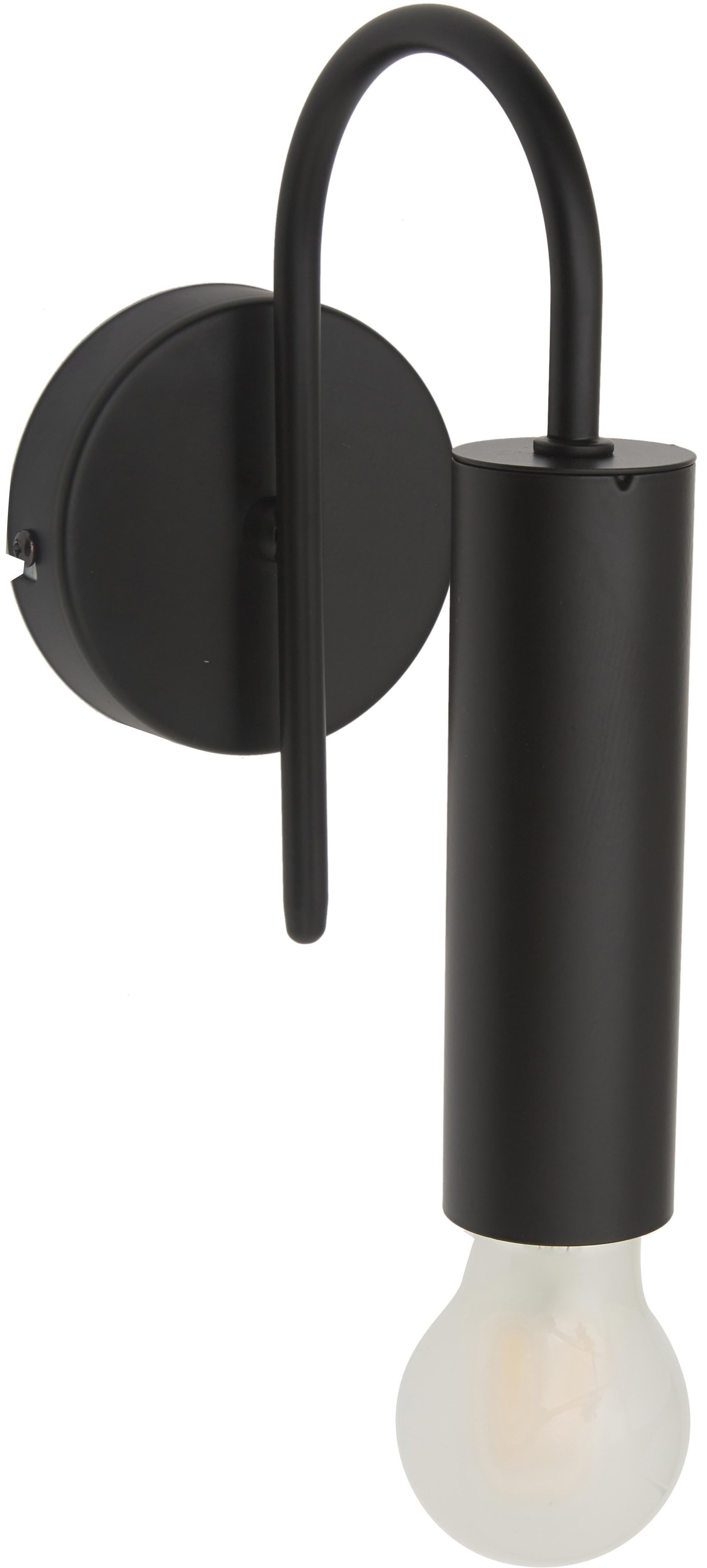 Wandlamp Loppe, Gelakt metaal, Zwart, 10 x 21 cm