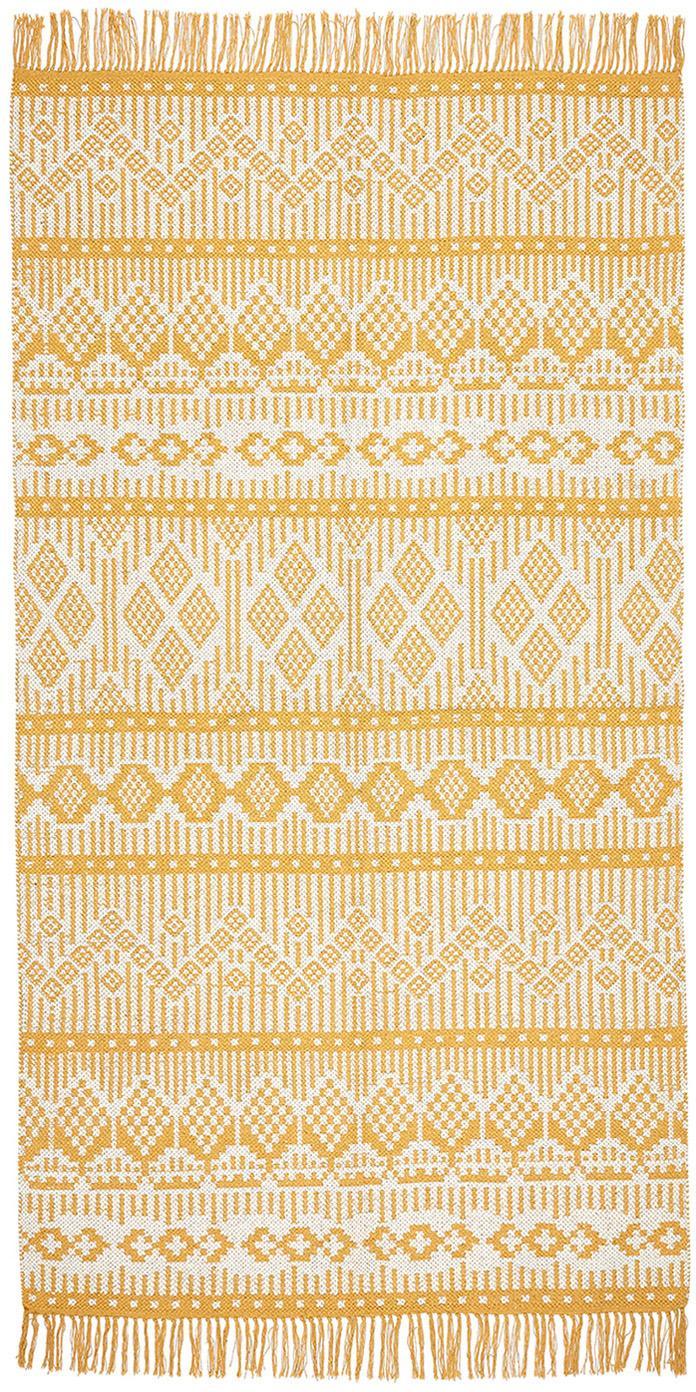 Ethno Teppich Panama aus recycelter Baumwolle, 100% Recycelte Baumwolle, Creme, Senfgelb, B 70 x L 140 cm (Größe XS)