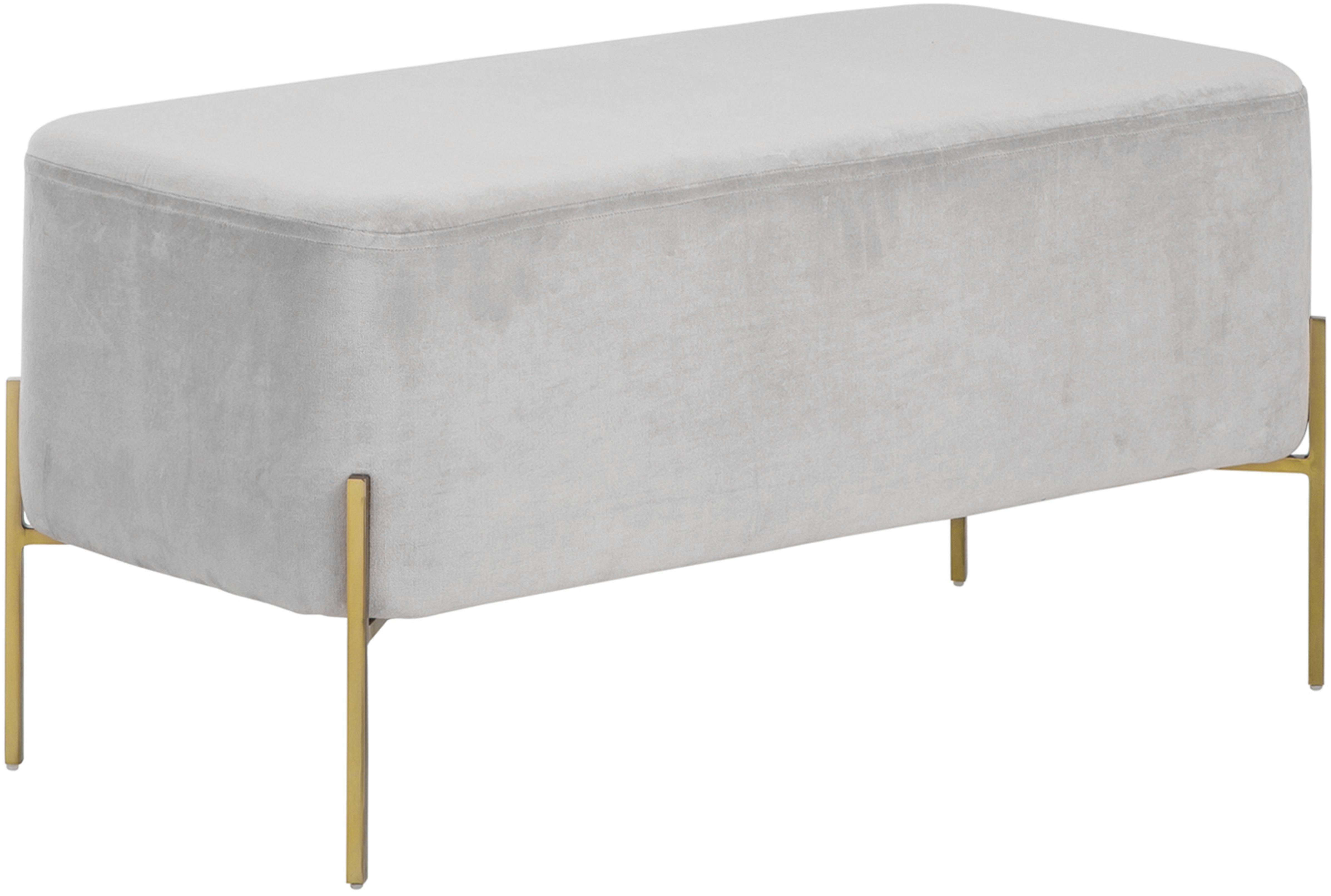 Banco de terciopelo Harper, Tapizado: terciopelo de algodón, Gris claro, dorado, An 90 x Al 44 cm