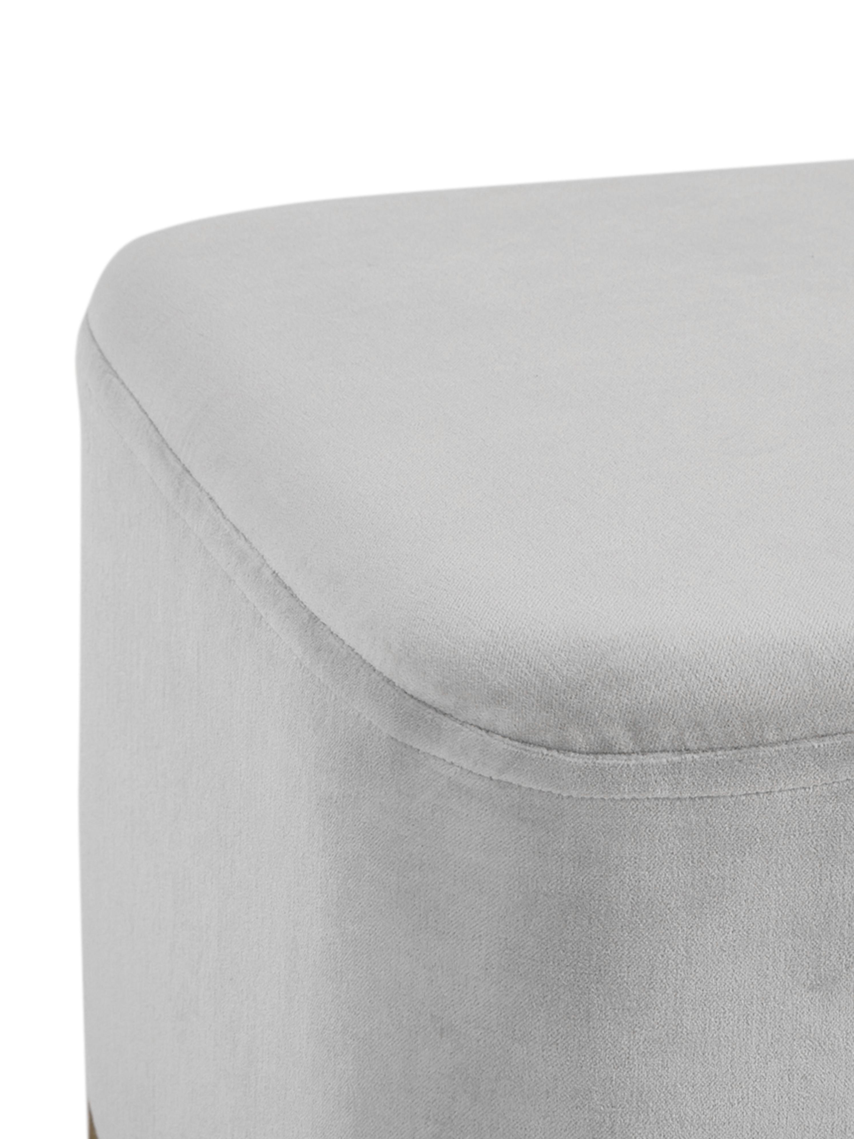 Panca imbottita in velluto Harper, Rivestimento: velluto, Grigio chiaro, dorato, Larg. 90 x Alt. 44 cm