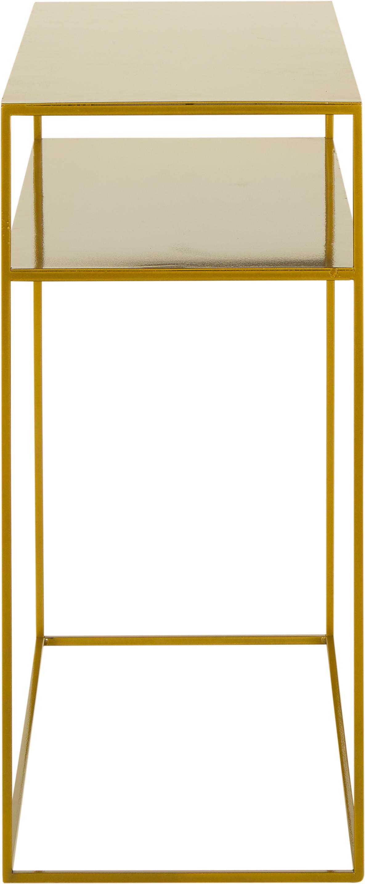 Consolle in metallo ottonato Tensio Duo, Metallo verniciato a polvere, Ottonato, Larg. 100 x Prof. 35 cm