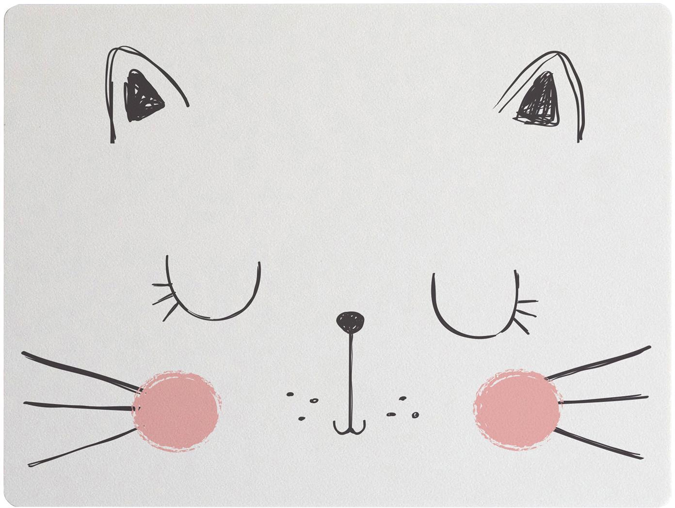 Tovaglietta Cat, Fibre di resina e juta, Bianco, rosa, nero, Larg. 35 x Lung. 55 cm