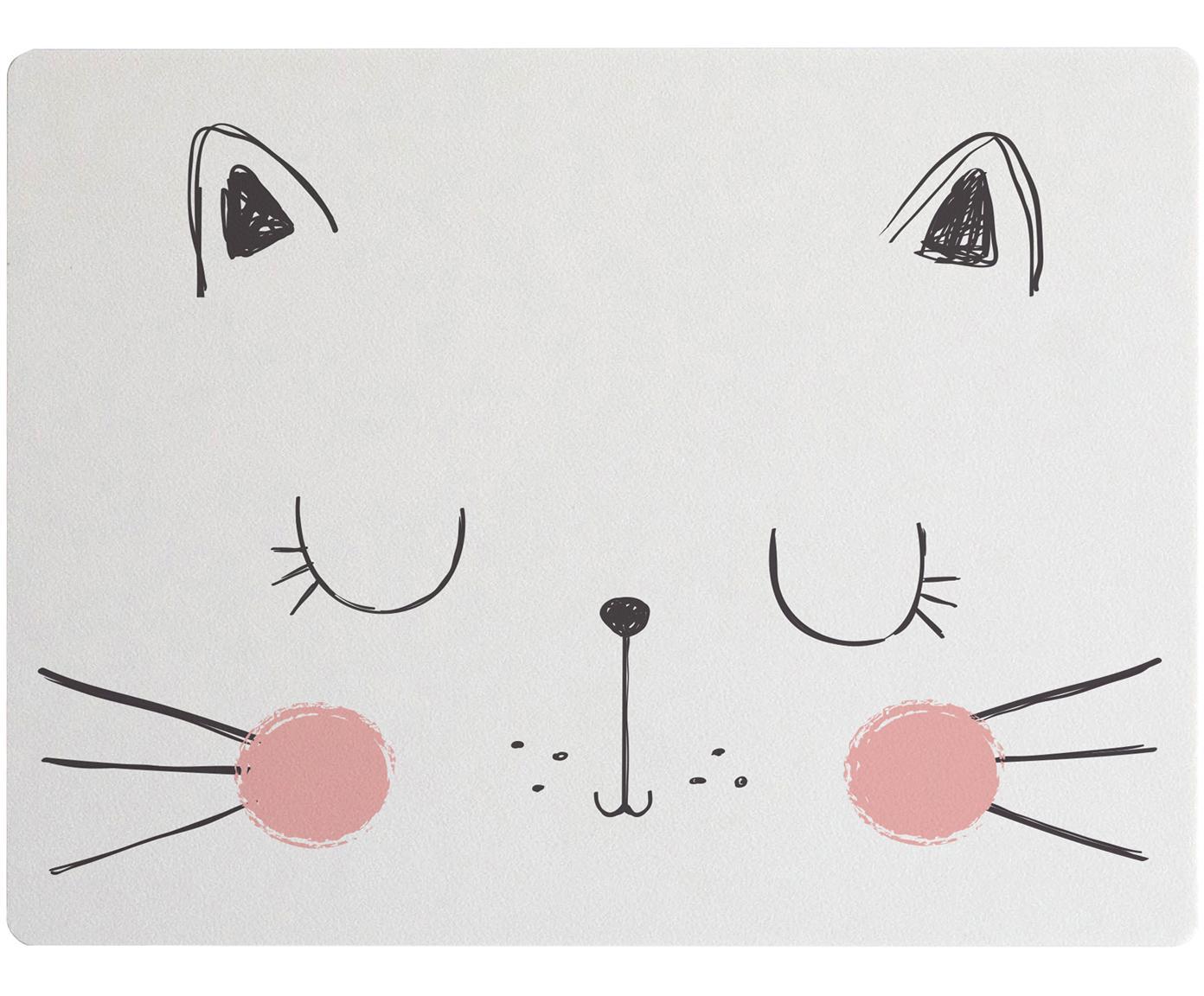 Mantel individual Cat, Fibras de yute y resina, Blanco, rosa, negro, An 35 x L 55 cm