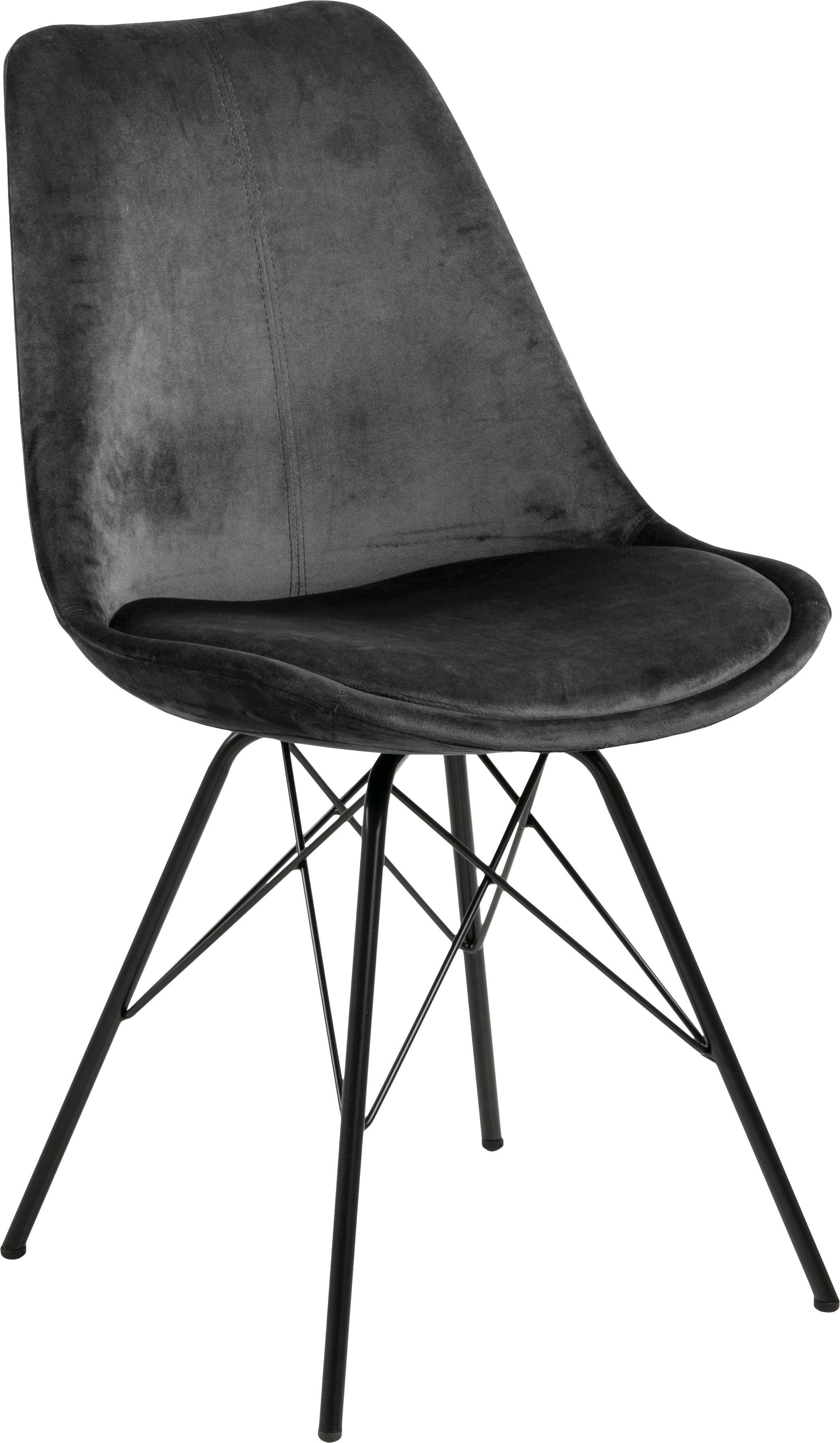 Fluwelen stoel Eris, Polyester fluweel, metaal, Donkergrijs, zwart, B 49 x D 54 cm