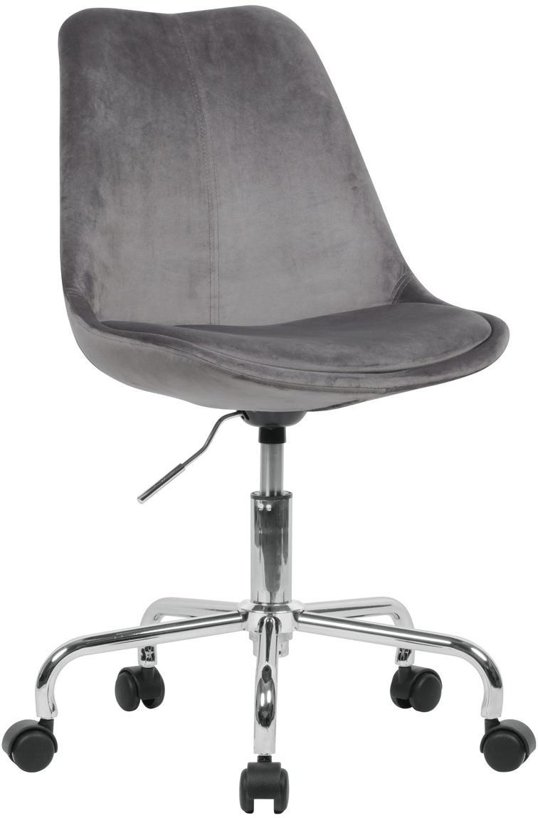Sedia da ufficio girevole in velluto Lenka, Rivestimento: velluto, Struttura: metallo cromato, Grigio scuro, Larg. 65 x Prof. 56 cm