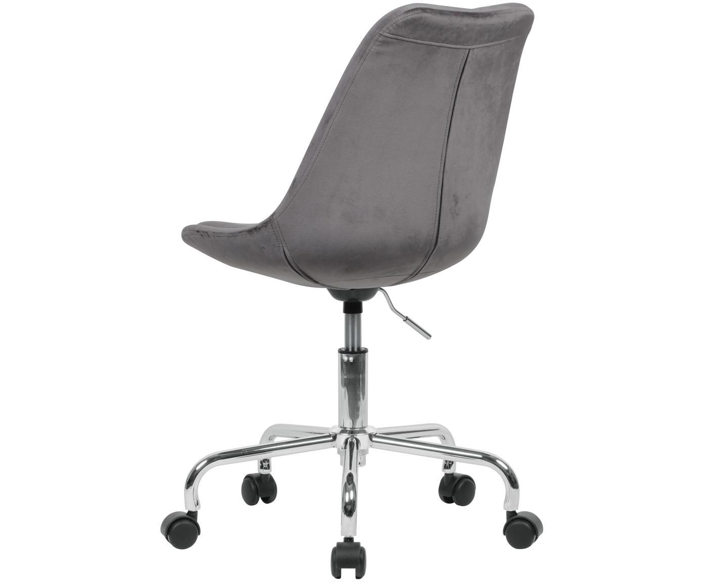 Samt-Bürodrehstuhl Lenka, höhenverstellbar, Bezug: Samt, Gestell: Metall, verchromt, Samt Grau, B 65 x T 56 cm