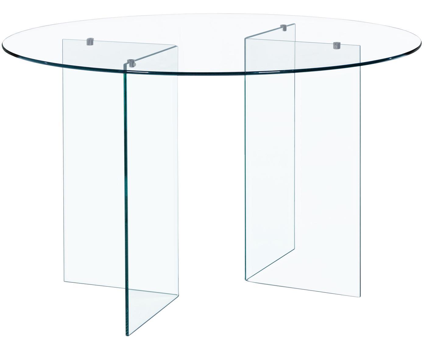 Tavolo da pranzo rotondo in vetro Iride, Gambe: vetro, Piano d'appoggio: vetro temperato trattato , Trasparente, Ø 130 x Alt. 75 cm