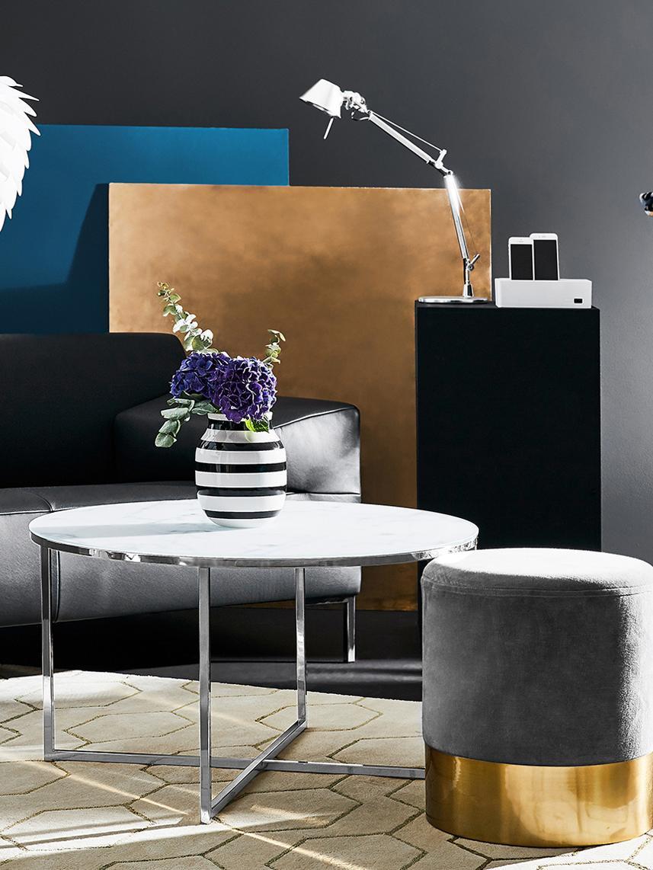 Stolik kawowy ze szklanym blatem Antigua, Blat: szkło, matowy nadruk, Stelaż: stal chromowana, Blat: mleczny, nadruk marmurowy Stelaż: chromowany, Ø 80 x W 45 cm