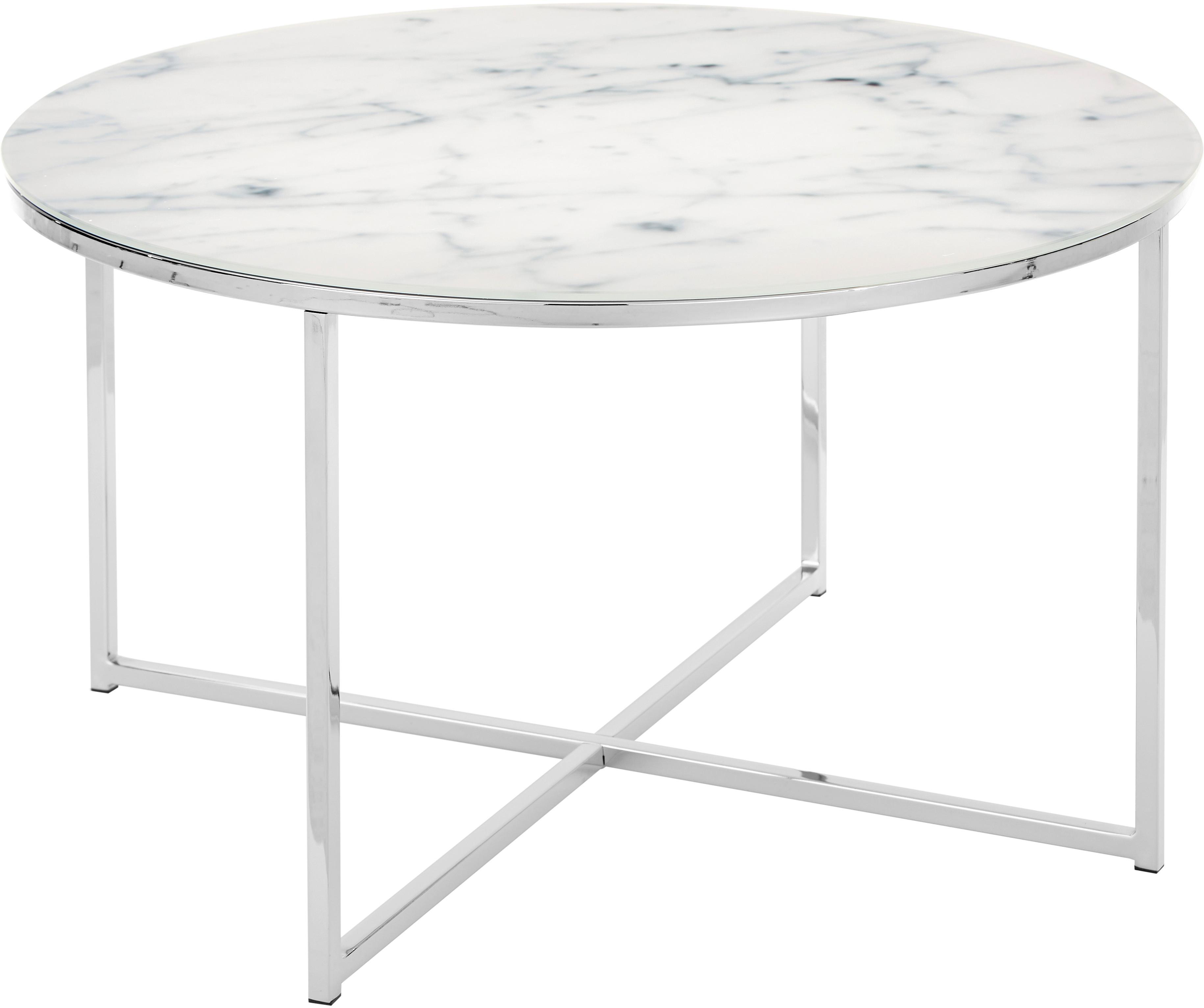 Mesa de centro Antigua, tablero de cristal en aspecto mármol, Tablero: vidrio estampado con aspe, Estructura: metal cromado, Mármol blanco, cromo, Ø 80 x Al 45 cm