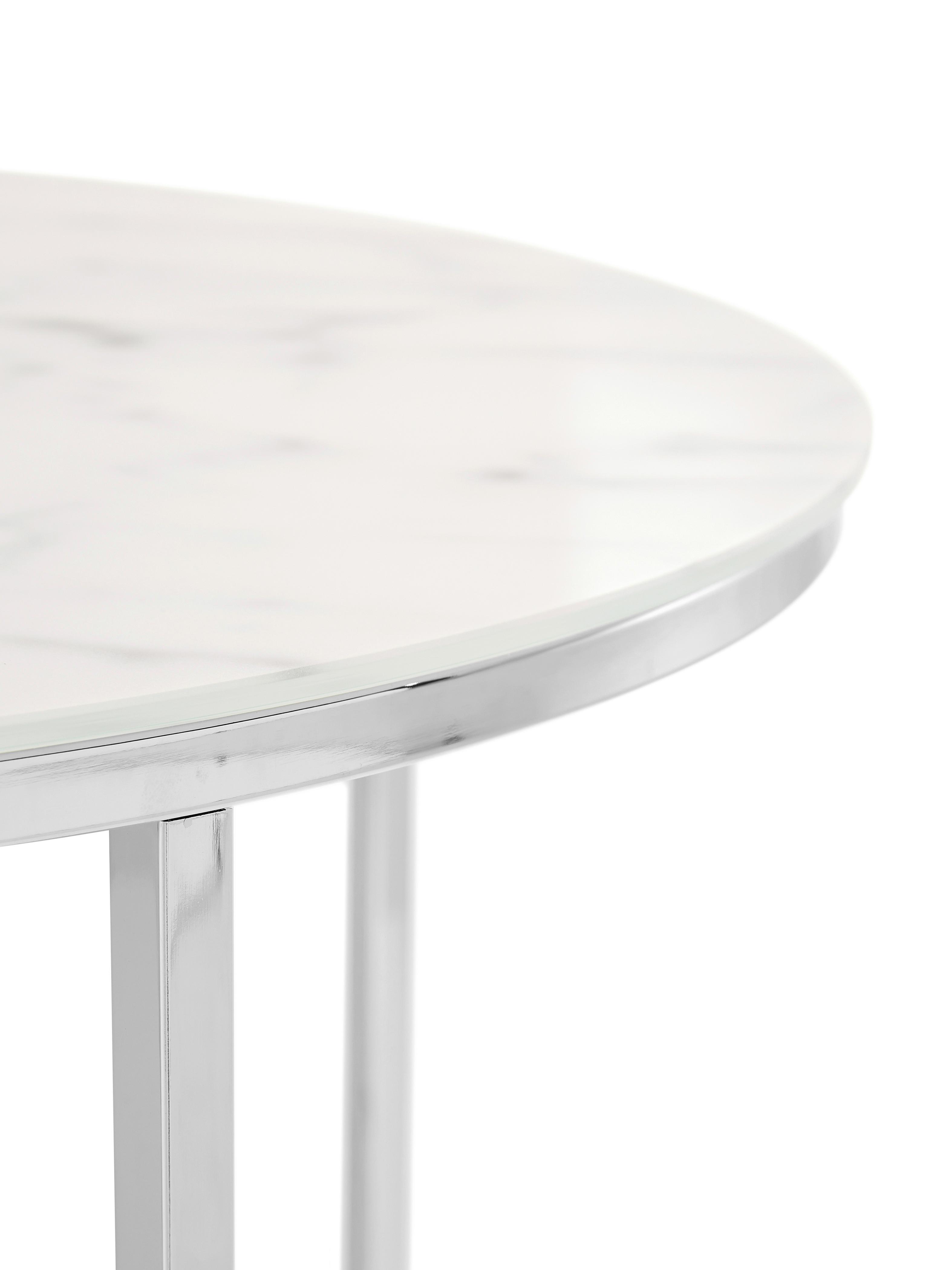 Tavolino da salotto con piano in vetro effetto marmo Antigua, Piano d'appoggio: vetro opaco stampato, Struttura: metallo cromato, Piano d'appoggio: latte, marmo stampato Struttura: cromato, Ø 80 x Alt. 45 cm