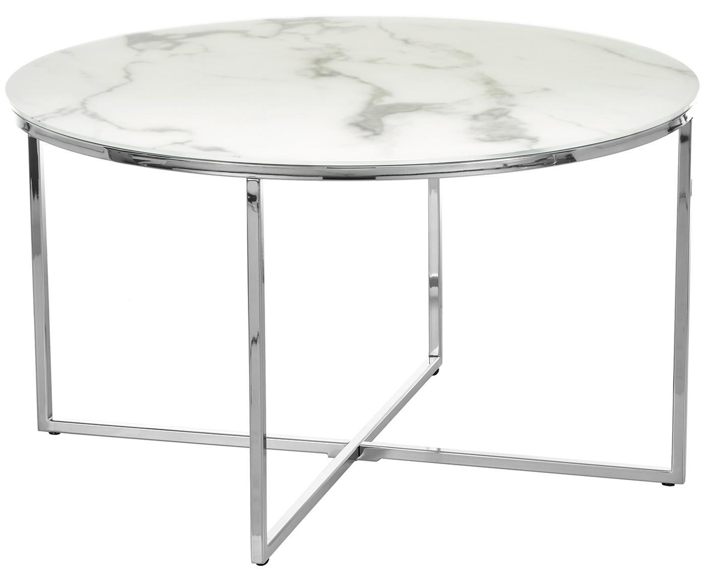 Salontafel Antigua met glazen tafelblad met marmerlook, Tafelblad: mat bedrukt glas, Frame: verchroomd staal, Tafelblad: melkachtig, marmeren print. Frame: chroom, Ø 80 x H 45 cm