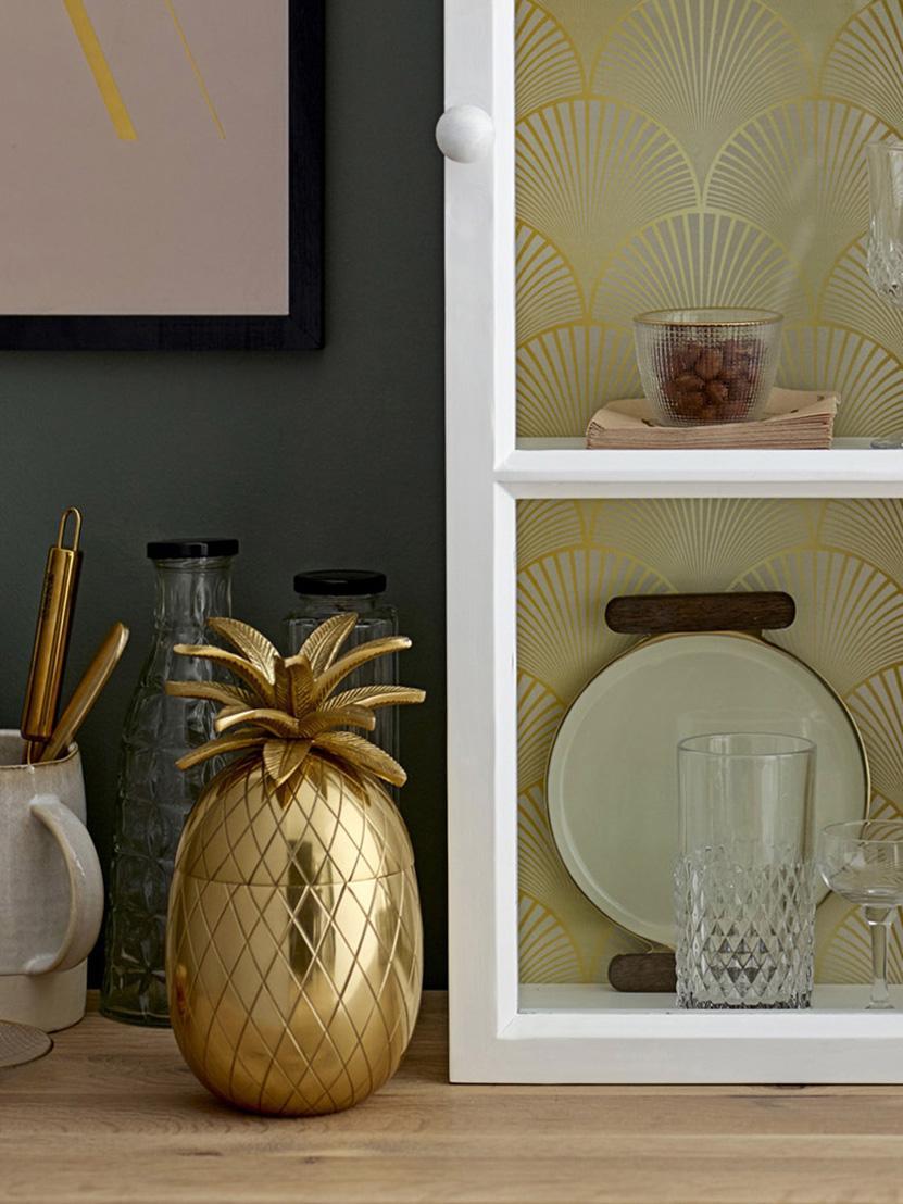 Secchiello per ghiaccio Pineapple, Alluminio, Dorato, Ø 13 x Alt. 24 cm