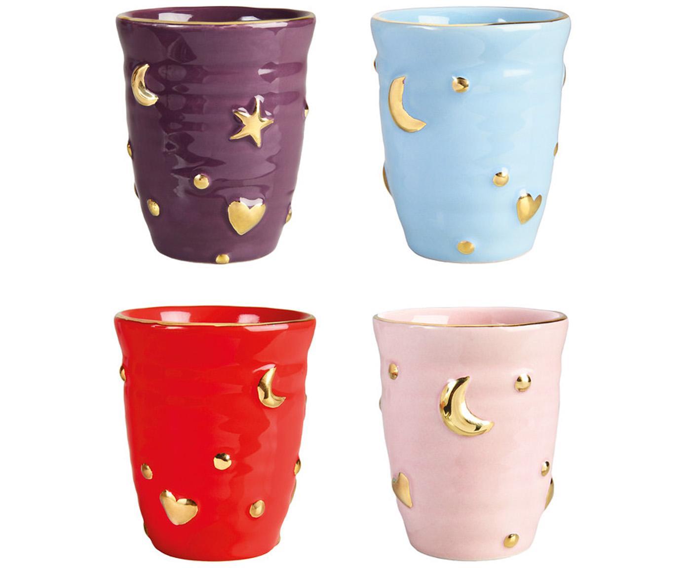 Set de tazas artesanales Anouk, 4pzas., Porcelana, Lila, azul claro, rojo, rosa, dorado, Ø 8 x Al 10 cm