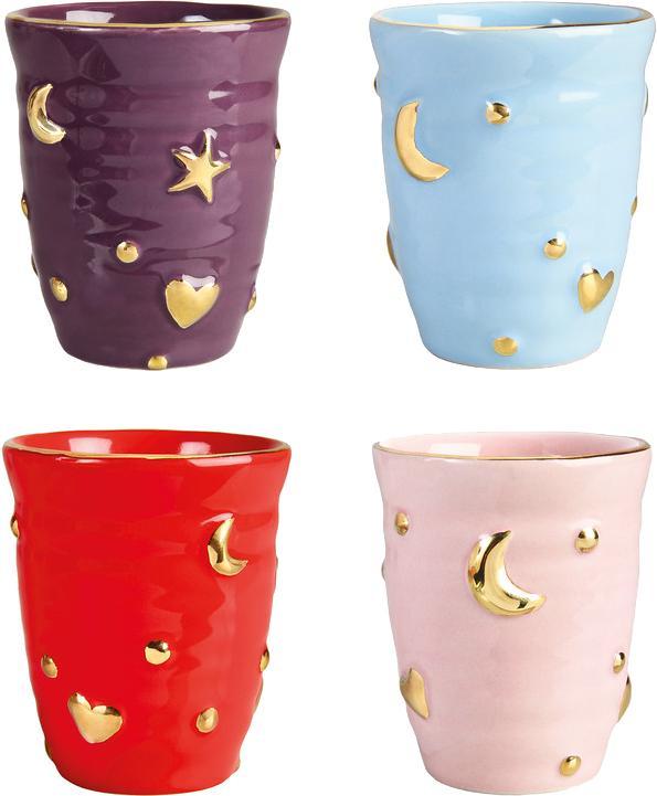 Handgemaakte bekerset Anouk, 4-delig, Porselein, Lila, lichtblauw, rood, roze, goudkleurig, Ø 8 x H 10 cm