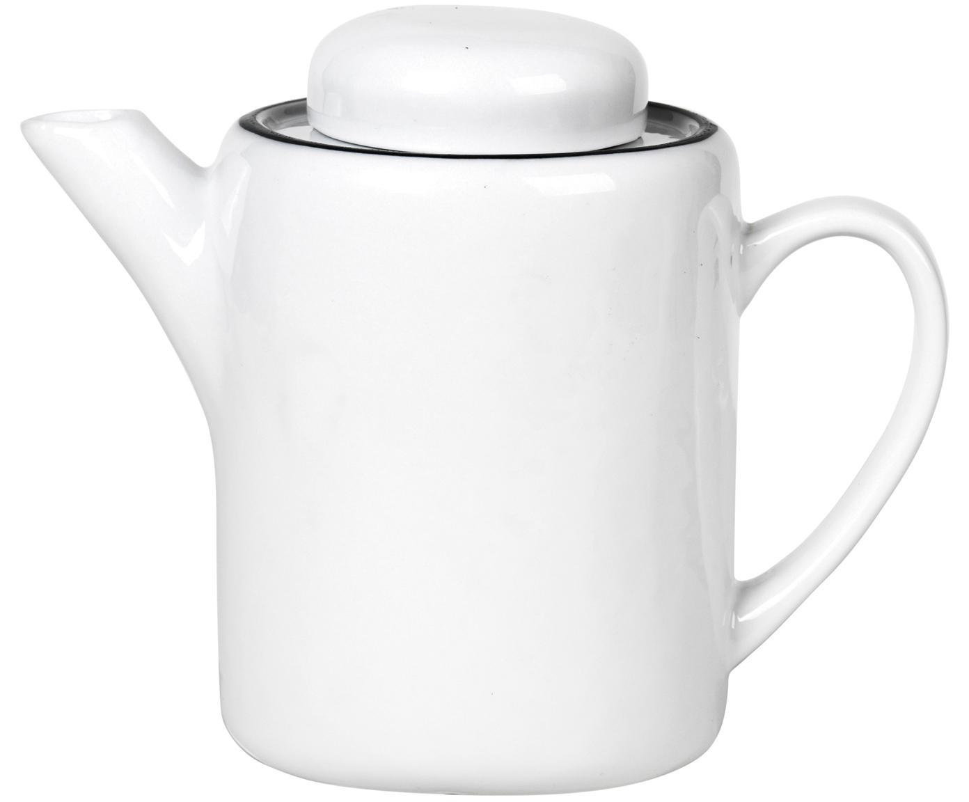 Handgemachte Teekanne Salt mit schwarzem Rand, Porzellan, Gebrochenes Weiss, Schwarz, 1.3 L