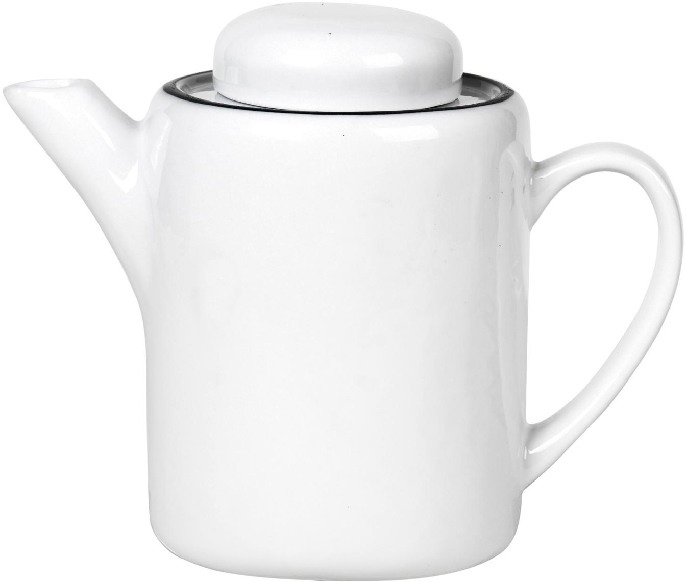 Handgemachte Teekanne Salt mit schwarzem Rand, Porzellan, Gebrochenes Weiß, Schwarz, 1.3 L