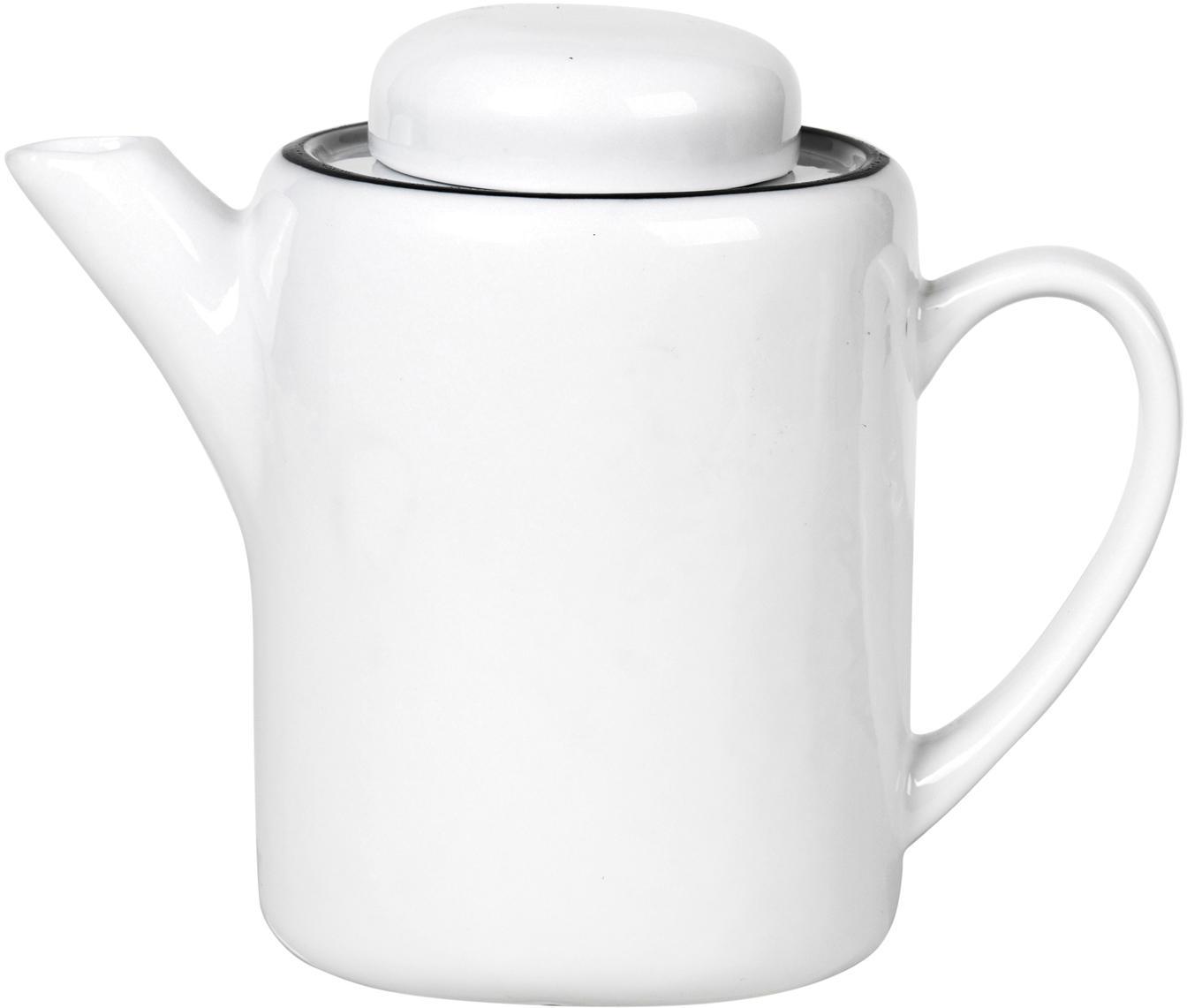 Tetera artesanal Salt, Porcelana, Blanco crudo, negro, 1.3 L