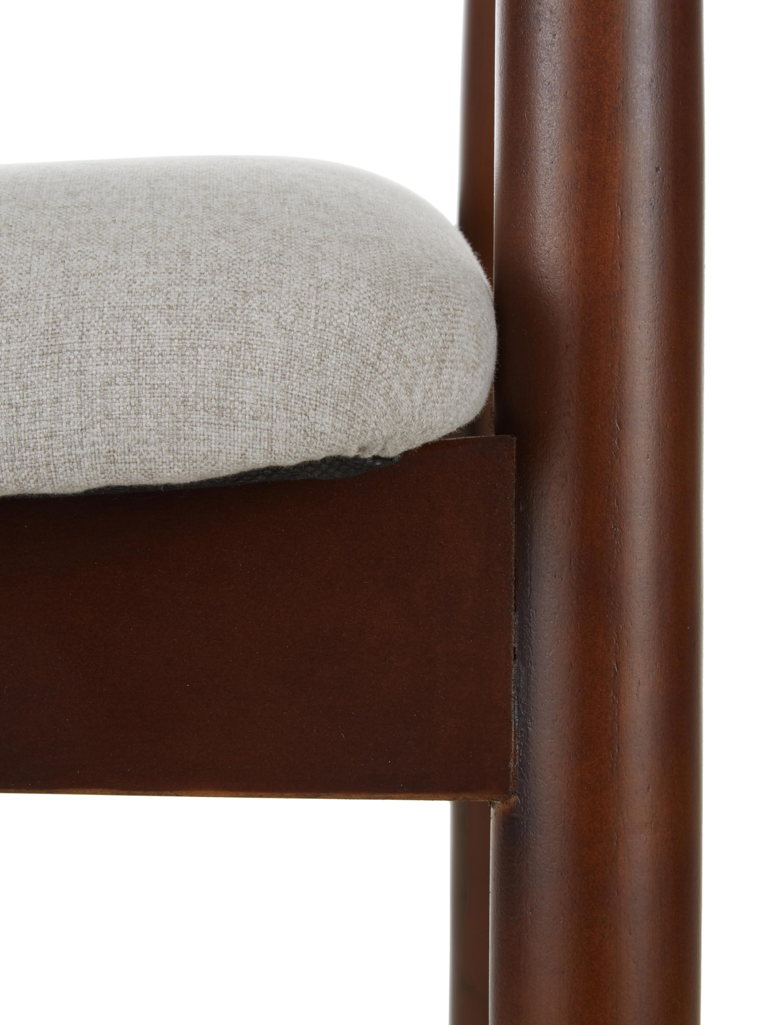Armstoel Lloyd van donker berkenhout, Bekleding: polyester, Frame: berkenhout, multiplex, Beige, berkenhoutkleurig, B 57 x D 54 cm