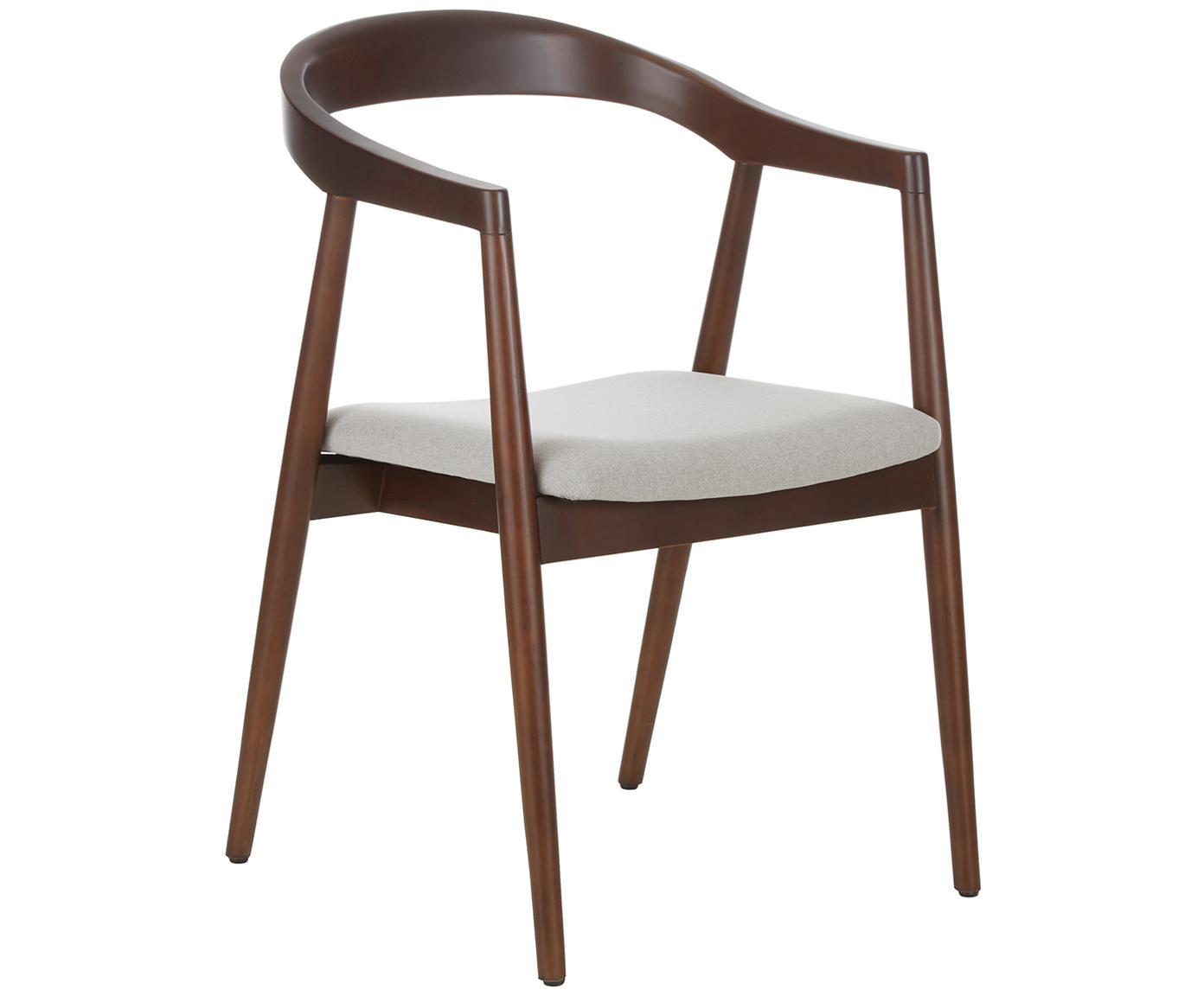 Armstoel Lloyd van donker berkenhout, Bekleding: polyester, Frame: berkenhout, multiplex, Beige, berkenhout, B 57 x D 54 cm
