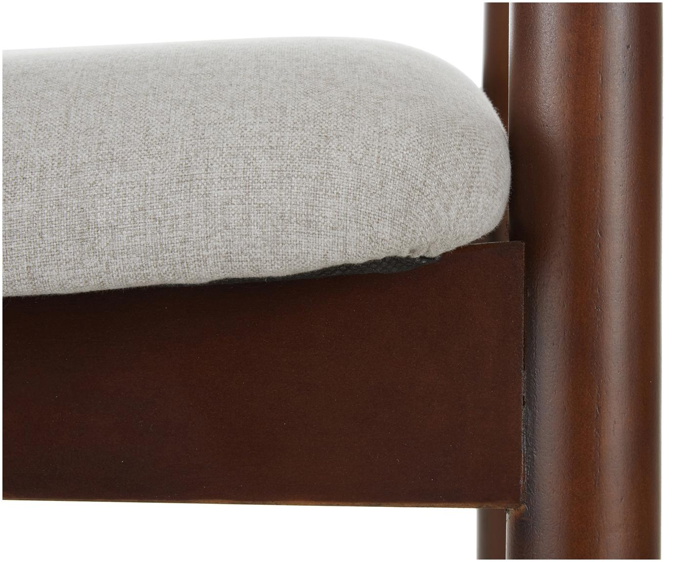 Krzesło z drewna brzozowego z podłokietnikami Lloyd, Tapicerka: poliester 40000 cykli w , Stelaż: drewno brzozowe, sklejka, Beżowy, drewno brzozowe, S 57 x G 54 cm
