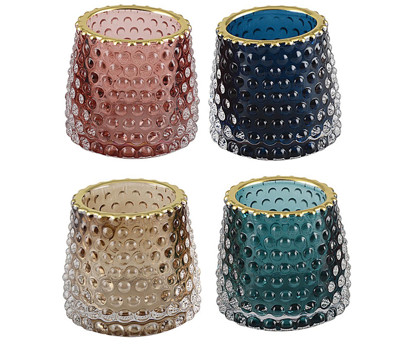 Set 4 portacandele Rimmon, Vetro, Multicolore, dorato, Ø 8 x Alt. 7 cm