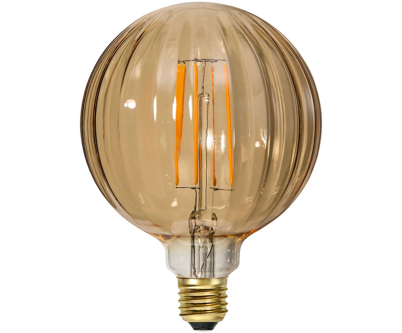 LED lamp Circy (E27 / 3W) , Peertje: glas, Fitting: nikkel, Amberkleurig, Ø 13 x H 17 cm