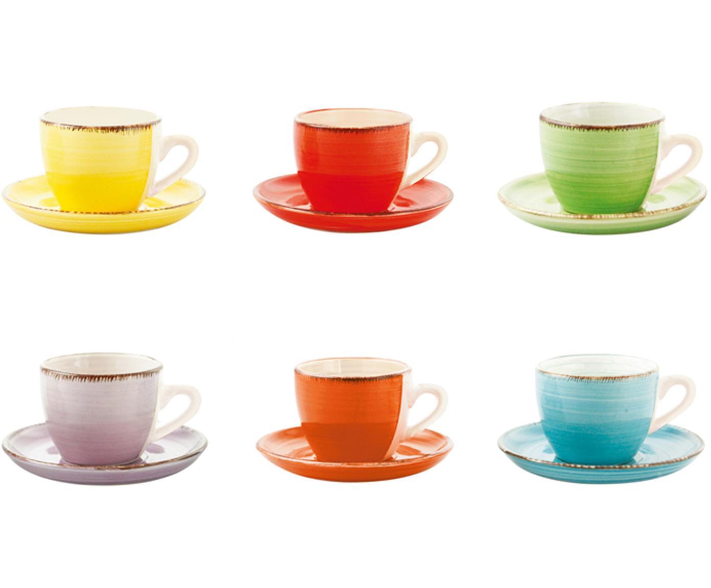 Komplet filiżanek do espresso Baita, 12 elem., Kamionka, Żółty, czerwony, jasny zielony, purpurowy, pomarańczowy, jasny niebieski, 90 ml