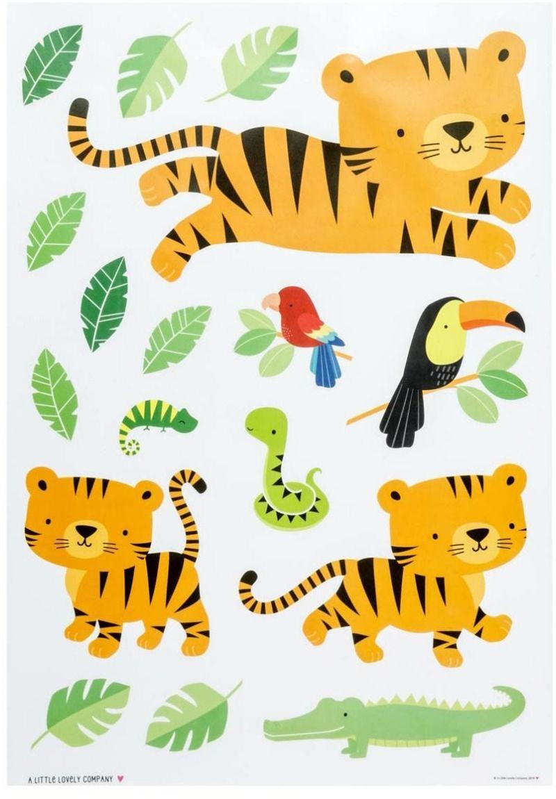 Komplet naklejek ściennych Jungle Tiger, 17 elem., Tworzywo sztuczne, Wielobarwny, S 35 x W 50 cm