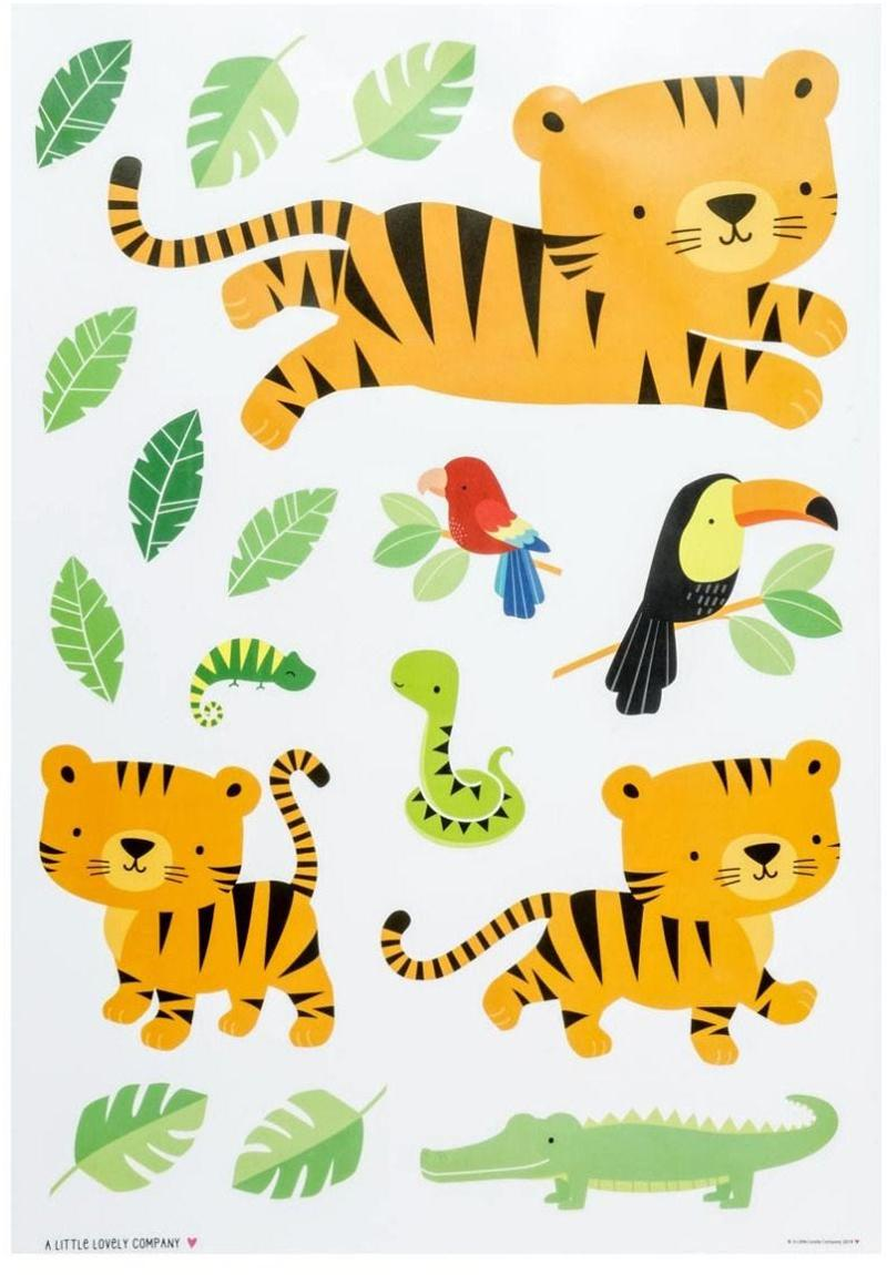 Set de pegatinas de pared Jungle Tiger, 17 pzas., Plástico, Multicolor, An 35 x Al 50 cm