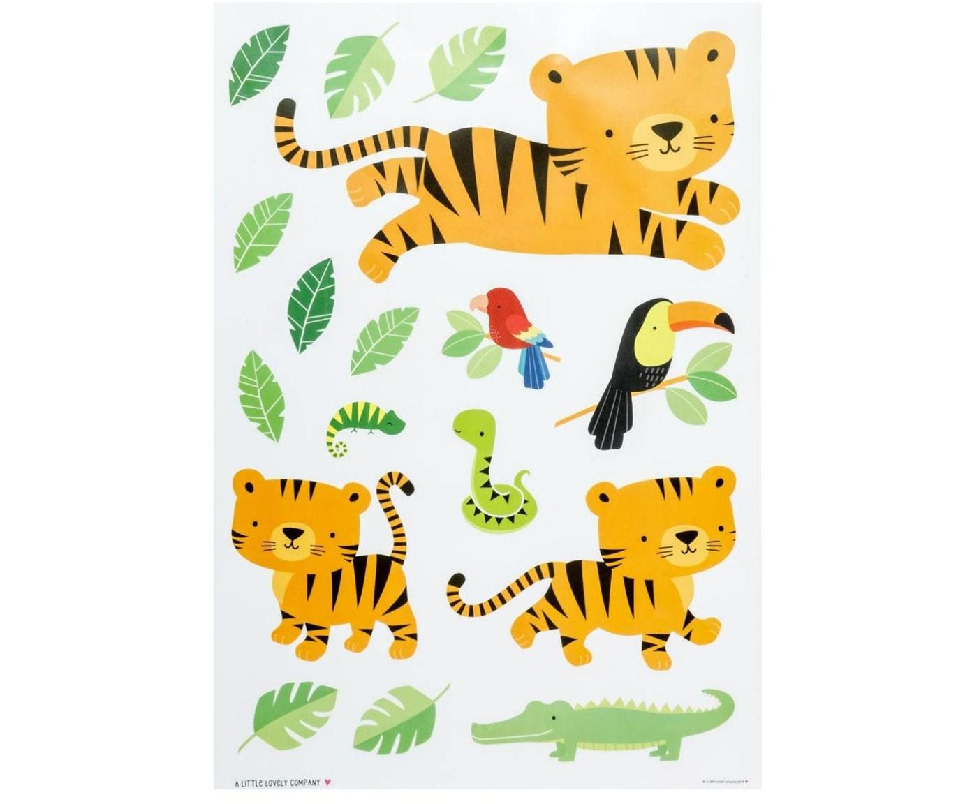 Set de pegatinas de pared Jungle Tiger, 17pzas., Plástico, Multicolor, An 35 x Al 50 cm