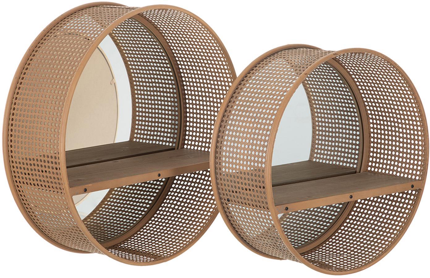 Set de estantes de pared Thomi, 2uds., con espejos, Estante: ratán, Espejo: cristal, Beige, Set de diferentes tamaños