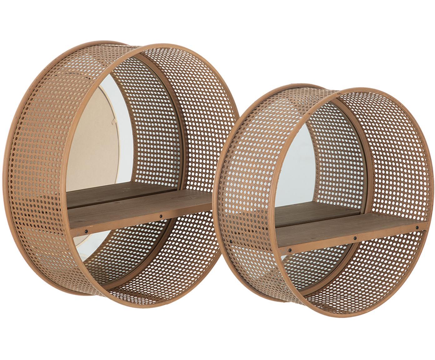 Set de estantes de pared Thomi, 2uds., con espejos, Estante: ratán, Espejo: cristal, Beige, Tamaños diferentes