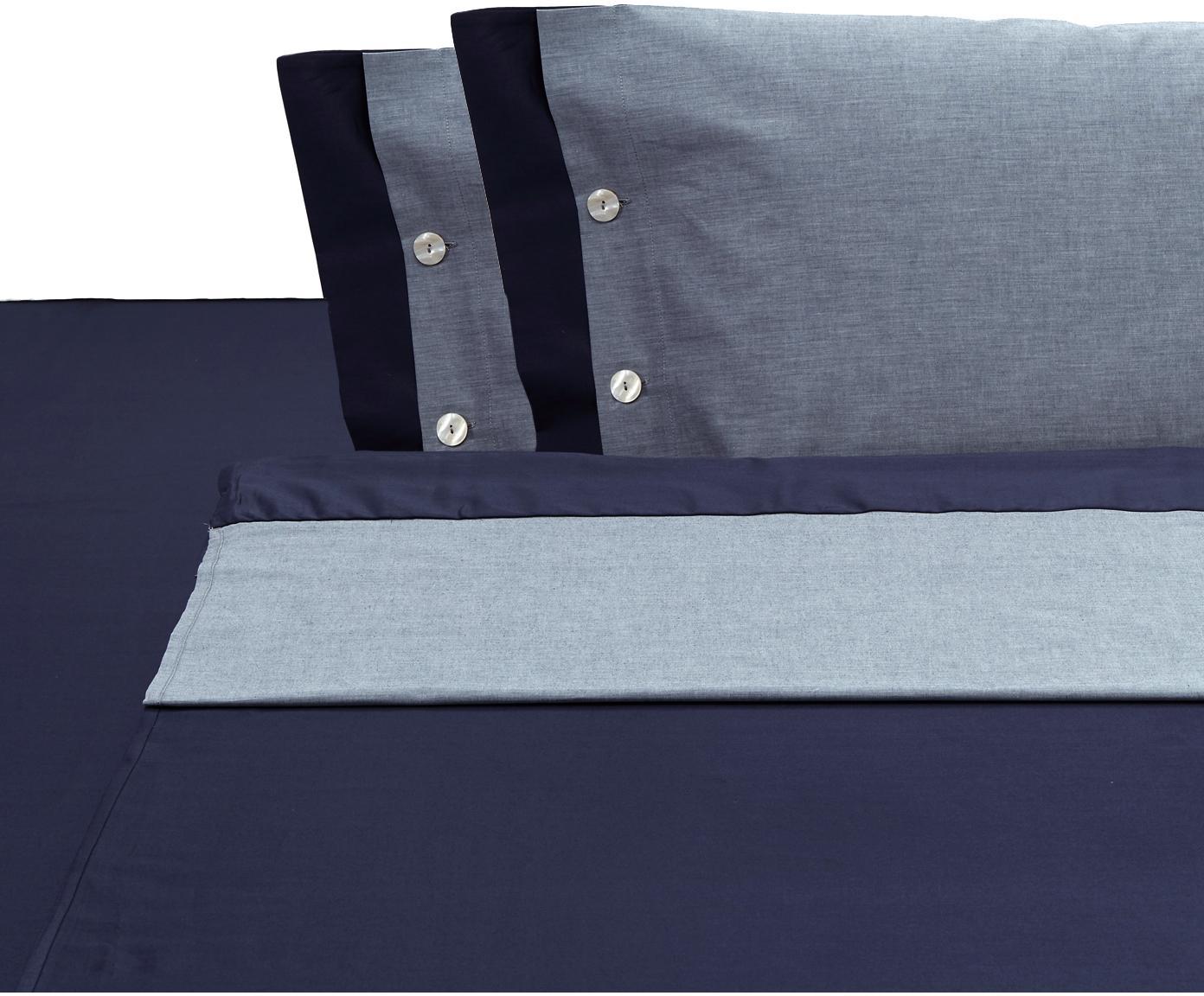 Set lenzuola in raso di cotone Charme, 4 pz, Raso di cotone, Blu, grigio blu, 250 x 290 cm