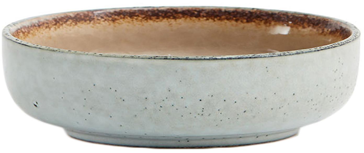 Ręcznie wykonana miska Nomimono, 2 szt., Kamionka, Szary, greige, Ø 18 x W 6 cm