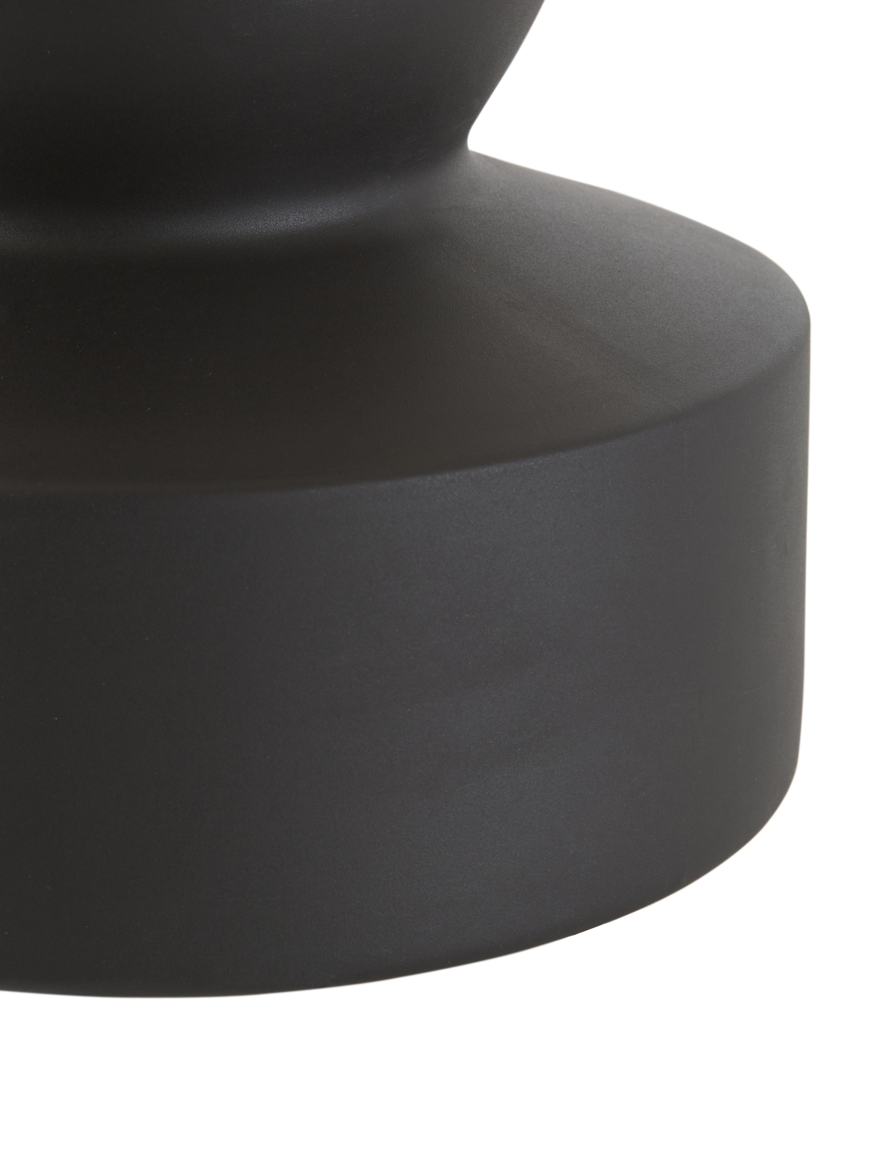 Keramik-Tischlampe Georgina, Lampenschirm: Textil, Lampenfuß: Keramik, Dekor: Metall, vermessingt, Beige, Schwarz, Ø 33 x H 52 cm