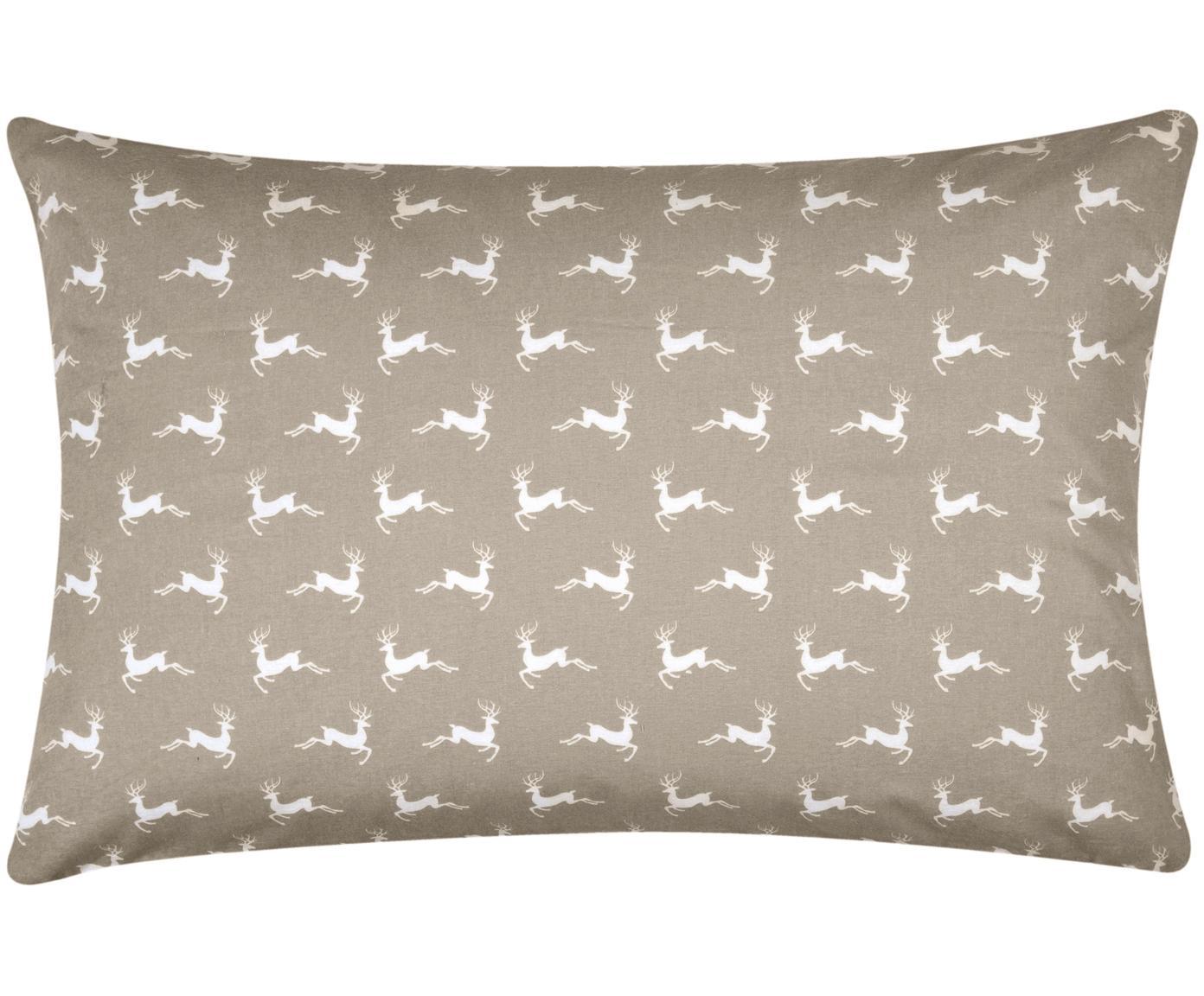 Flanell-Kissenbezug Rudolph mit Rentieren, Webart: Flanell Flanell ist ein s, Beige, Weiß, 65 x 100 cm