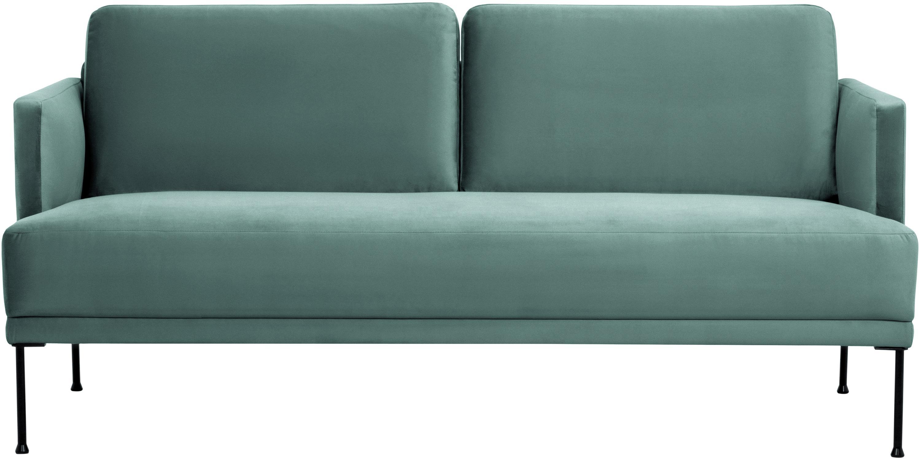 Samt-Sofa Fluente (2-Sitzer), Bezug: Samt (Hochwertiger Polyes, Gestell: Massives Kiefernholz, Füße: Metall, pulverbeschichtet, Samt Hellgrün, B 166 x T 85 cm