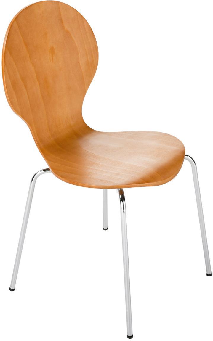 Esszimmerstühle Marcus, 4 Stück, Sitzfläche: Mitteldichte Holzfaserpla, Gestell: Stahl, verchromt, Braun, B 49 x T 53 cm