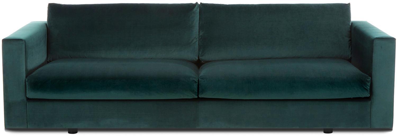 Samt-Sofa Balmira (3-Sitzer), Bezug: Samt (Polyester) 100.000 , Gestell: Massives Kiefernholz, Samt Dunkelgrün, B 240 x T 96 cm