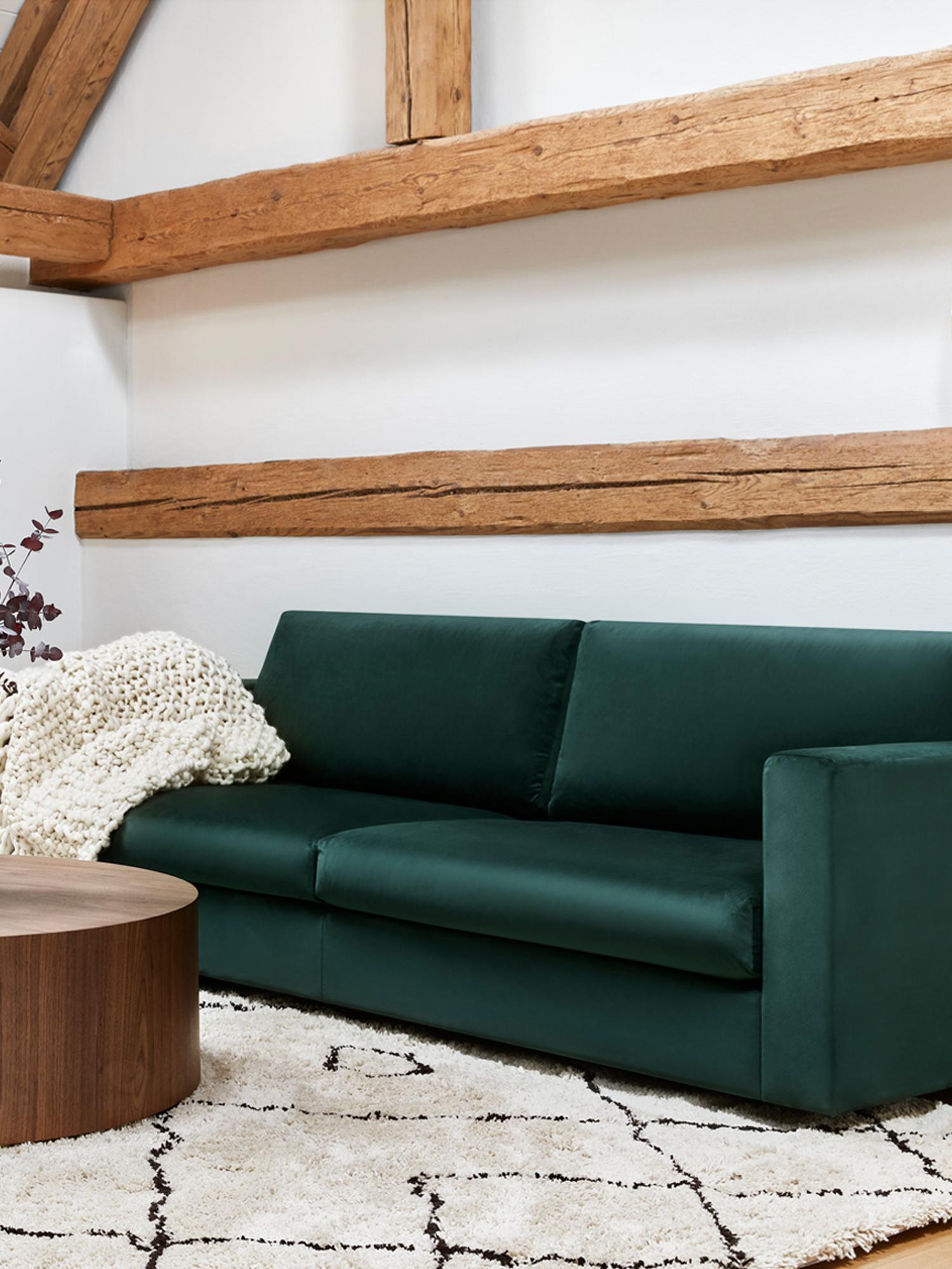 Fluwelen bank Balmira (3-zits), Bekleding: fluweel (polyester), Frame: massief grenenhout, Poten: massief gelakt berkenhout, Donkergroen, B 240 x D 96 cm