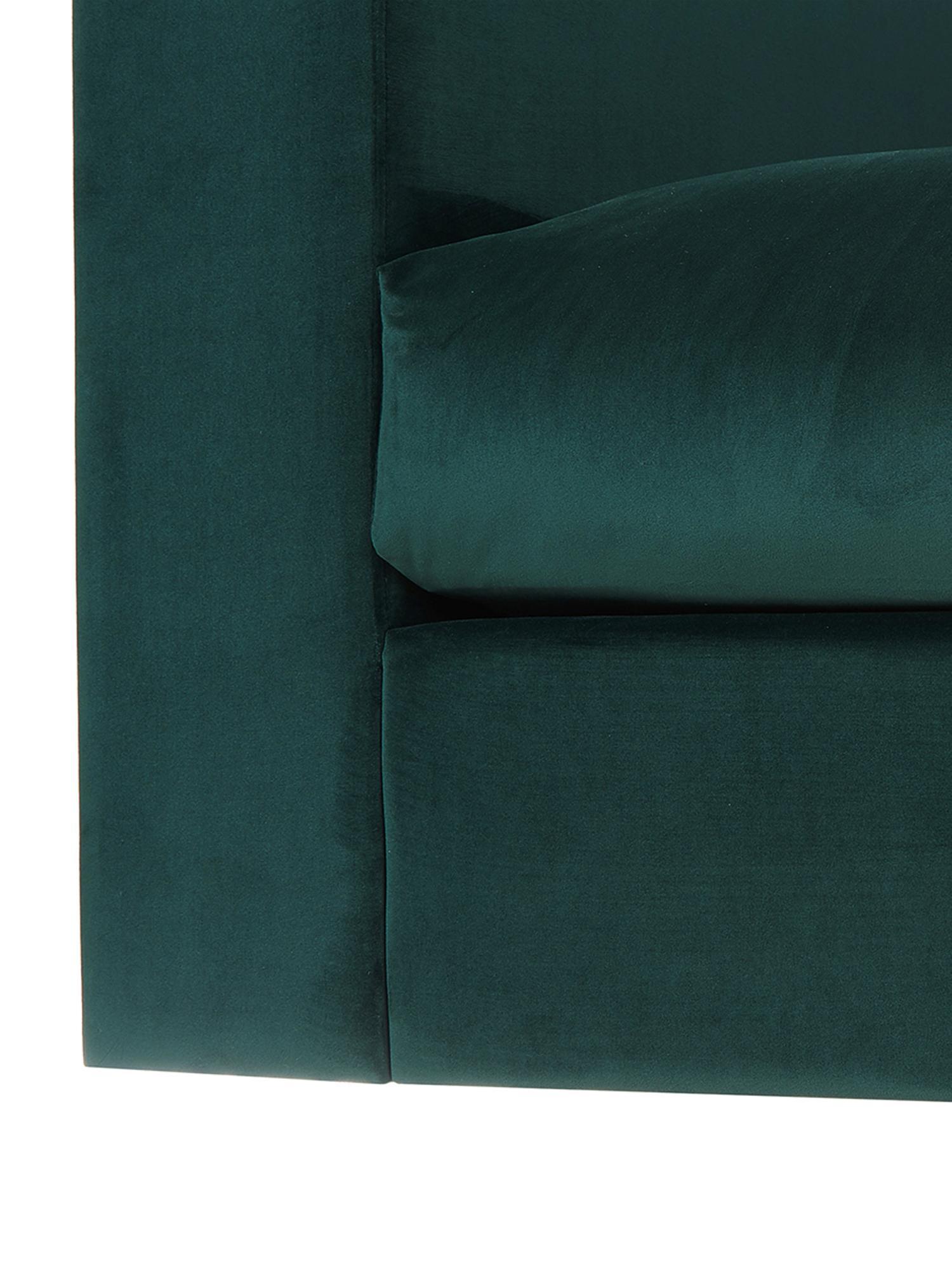 Samt-Sofa Balmira (3-Sitzer), Bezug: Samt (Polyester) 100.000 , Gestell: Massives Kiefernholz, Füße: Massives Birkenholz, lack, Samt Dunkelgrün, B 240 x T 96 cm