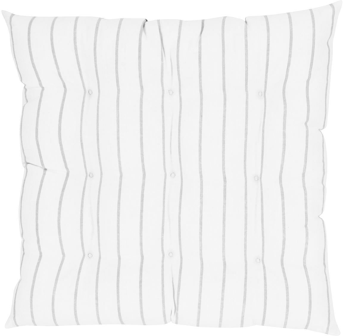 Gestreept stoelkussen Ludmilla, Lichtgrijs, crèmewit, 40 x 40 cm