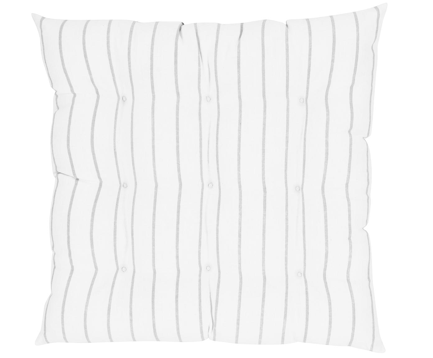 Cuscino sedia a righe Ludmilla, Grigio chiaro, bianco crema, Larg. 40 x Lung. 40 cm