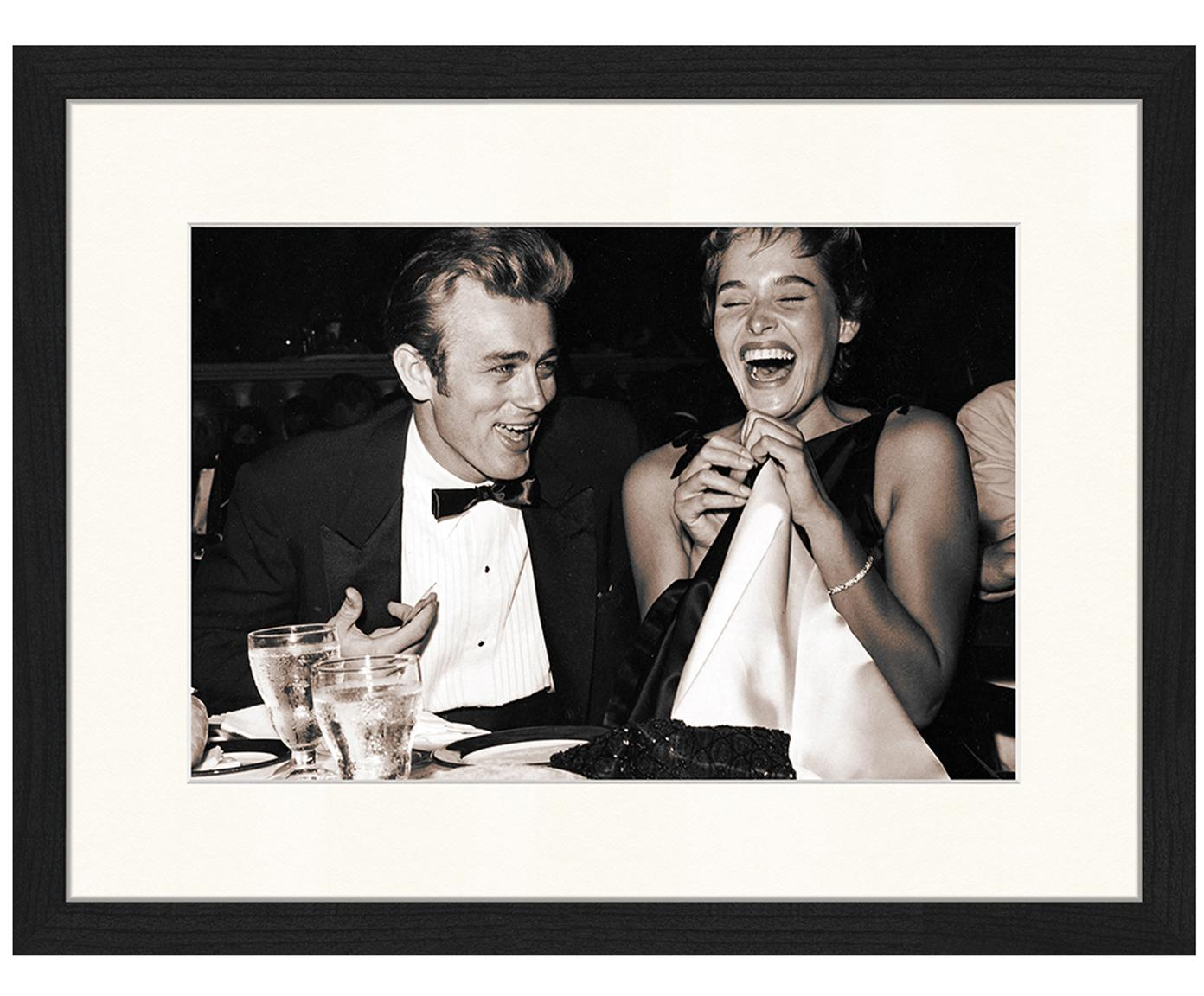 Oprawiony druk cyfrowy Ursula Andress i James Dean, 1955 Oscars, Stelaż: lakierowane drewno bukowe, Druk: sepia Stelaż: czarny, S 43 x W 33 cm