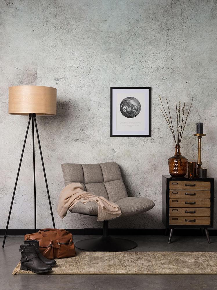 Draaistoel Bar in lichtgrijs, Bekleding: polyester, Voet: gepoedercoat metaal, Frame: multiplex, Geweven stof beigebruin, B 66 x D 78 cm