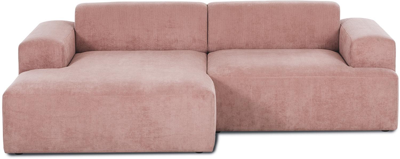 Corduroy hoekbank Melva (3-zits), Bekleding: corduroy (92% polyester, , Frame: massief grenenhout, spaan, Poten: grenenhout, Roze, B 240 x D 144 cm