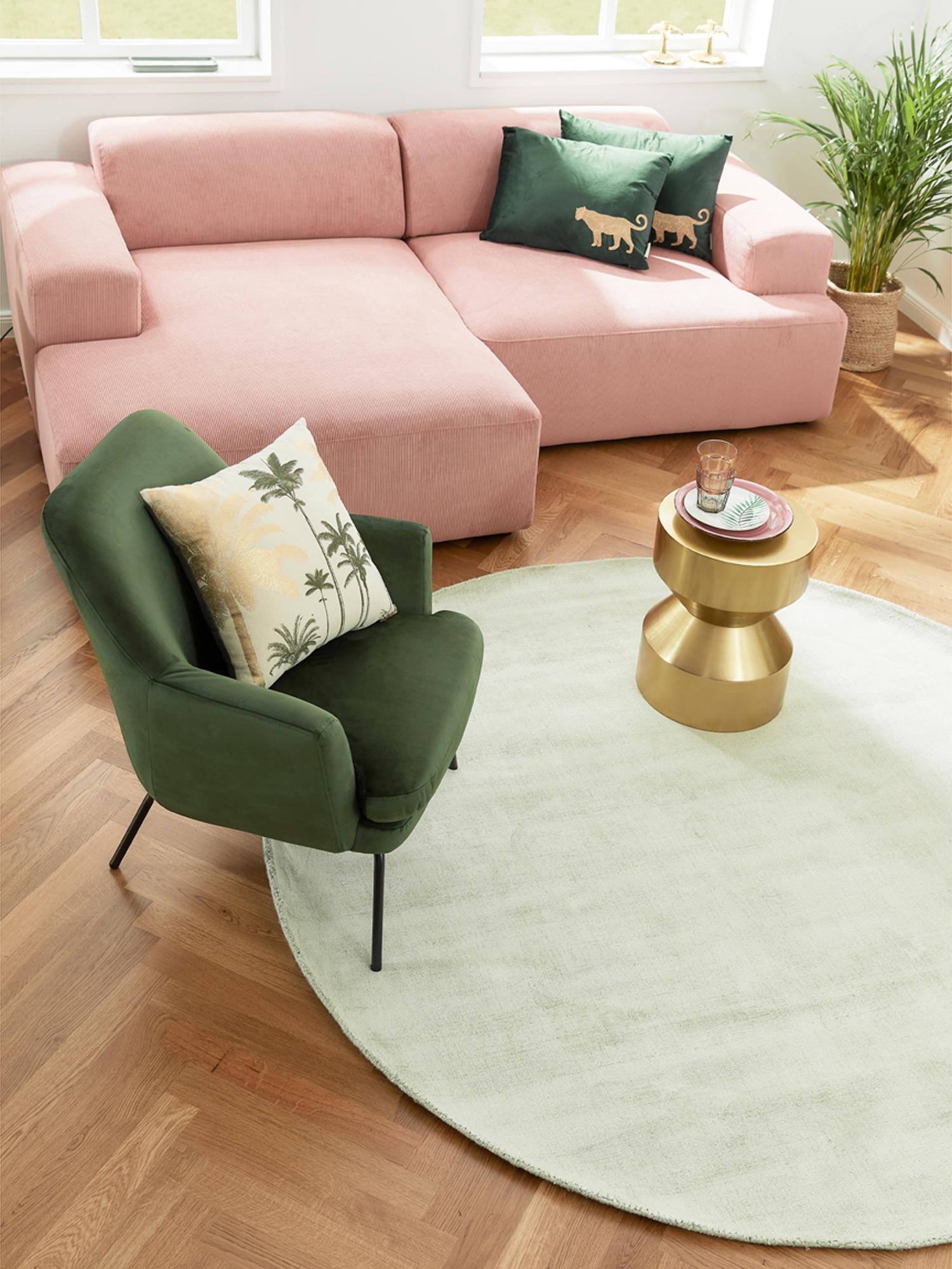 Canapé d'angle 3 places Melva, Velours côtelé rose